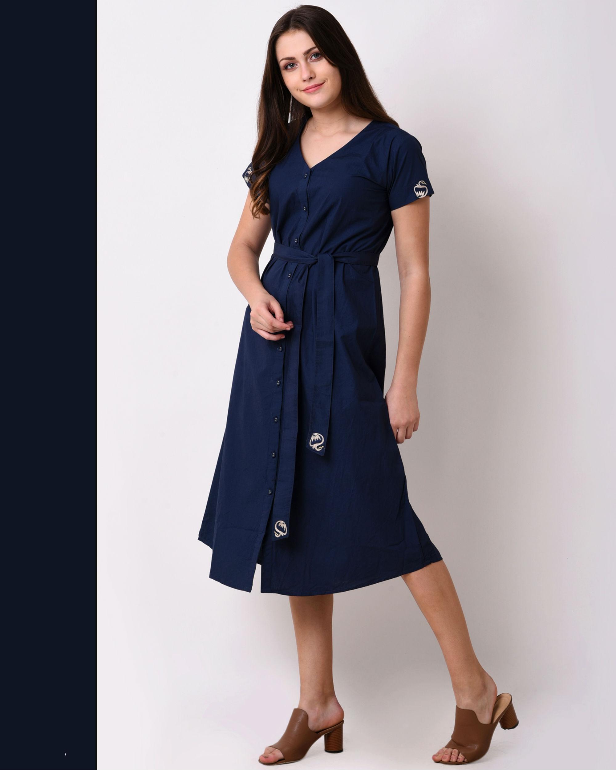 515e9f08c88 Navy blue embroidered shirt dress by Vritta