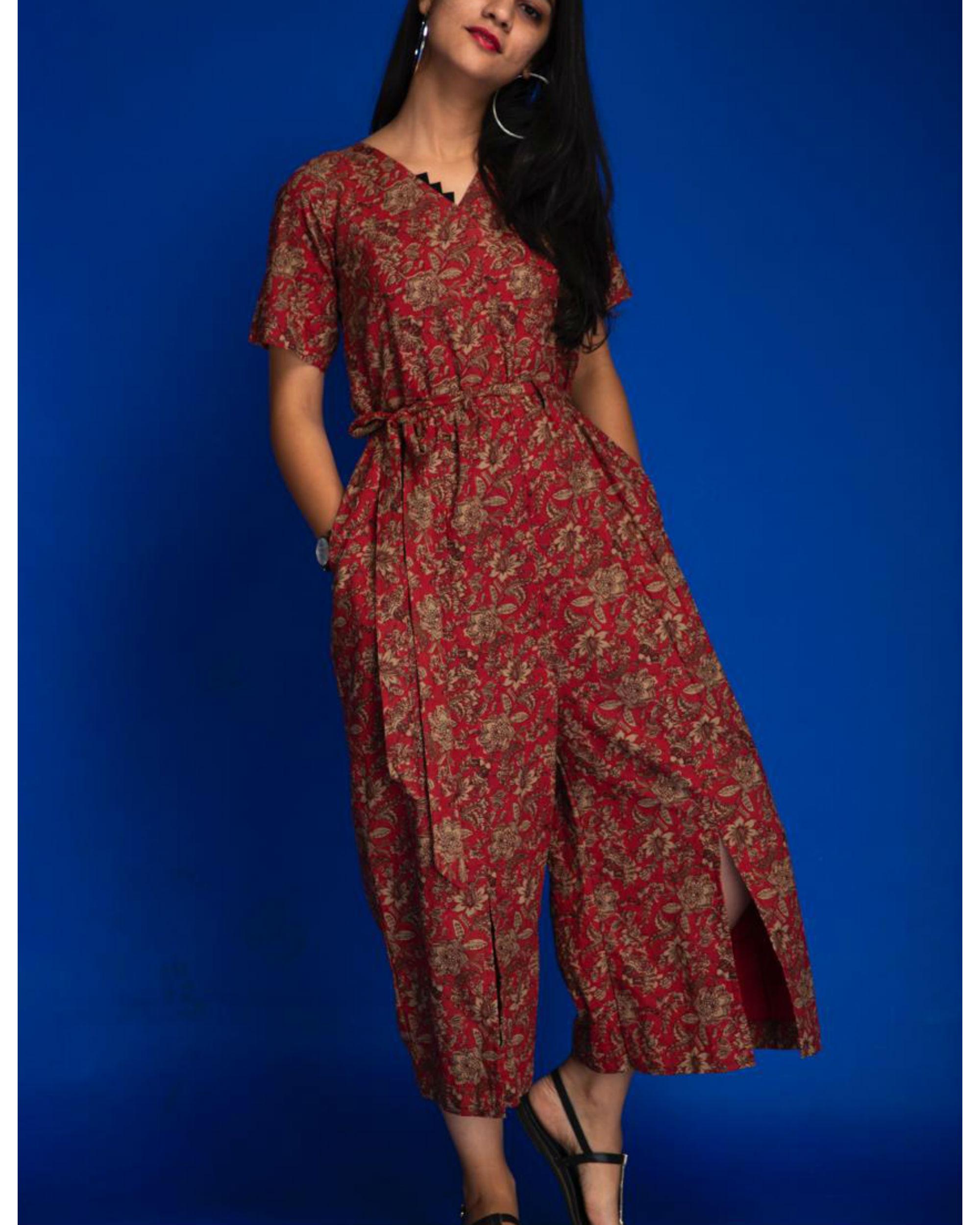 Red floral slit jumpsuit