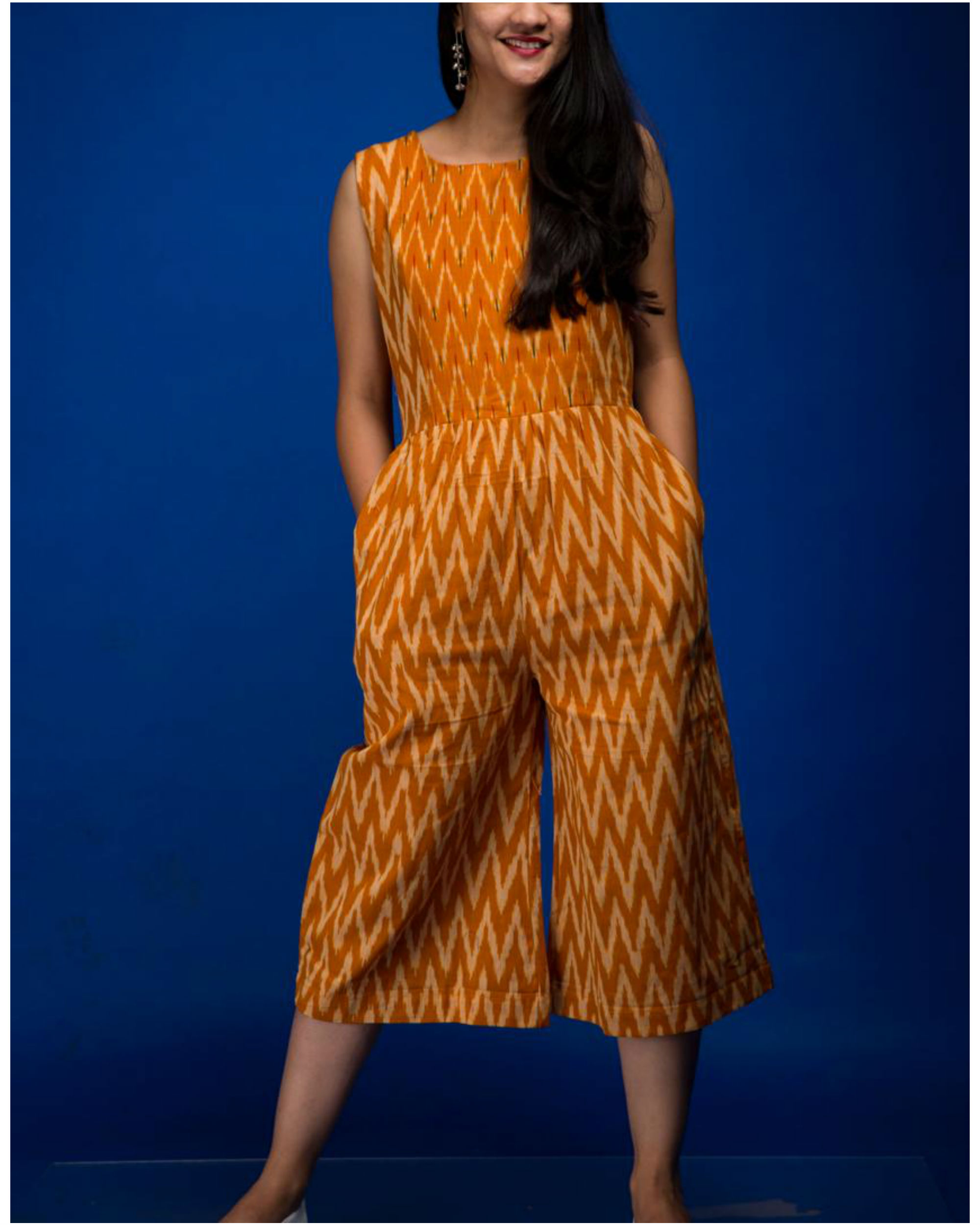 Mustard yellow ikat jumpsuit