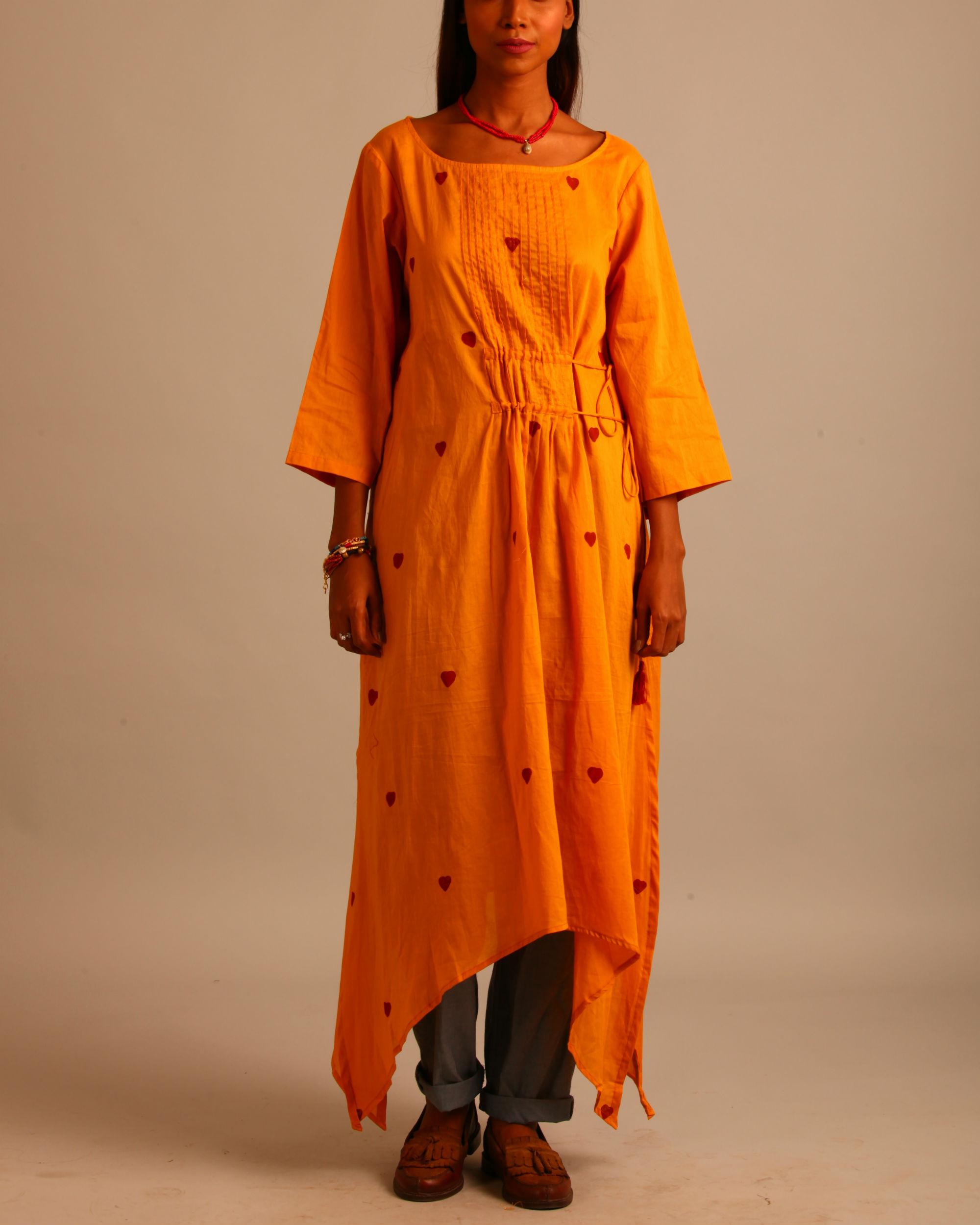 Yellow asymmetric tassels dress