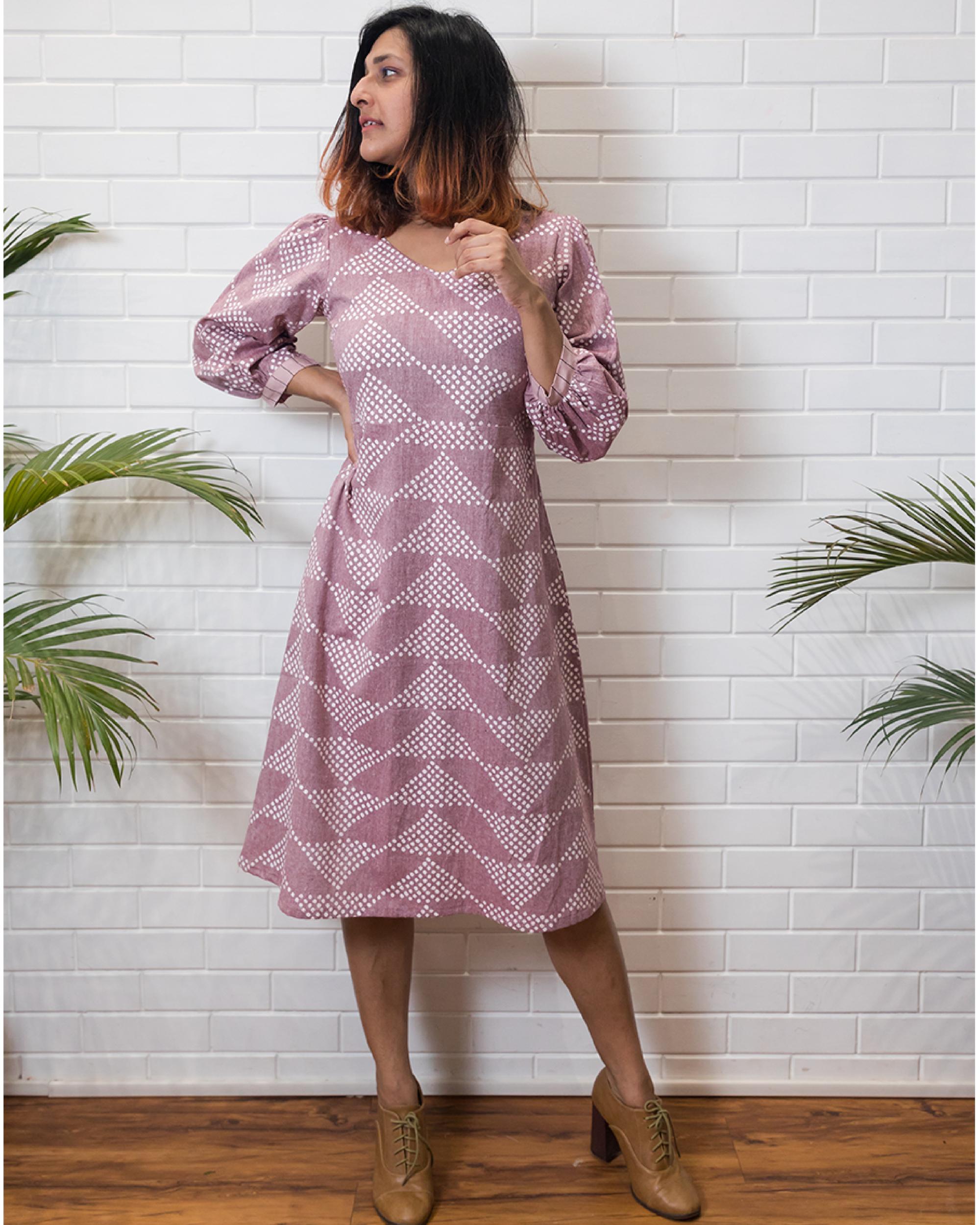 Lavender puff sleeves dress