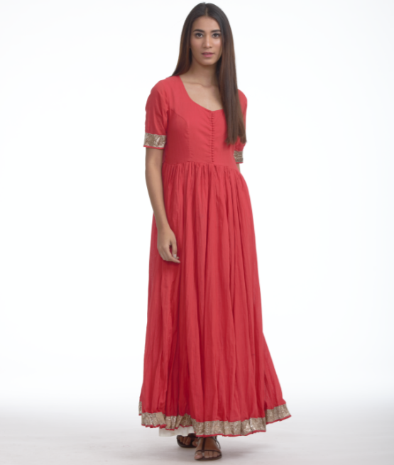 Red gota anarkali with palazzos