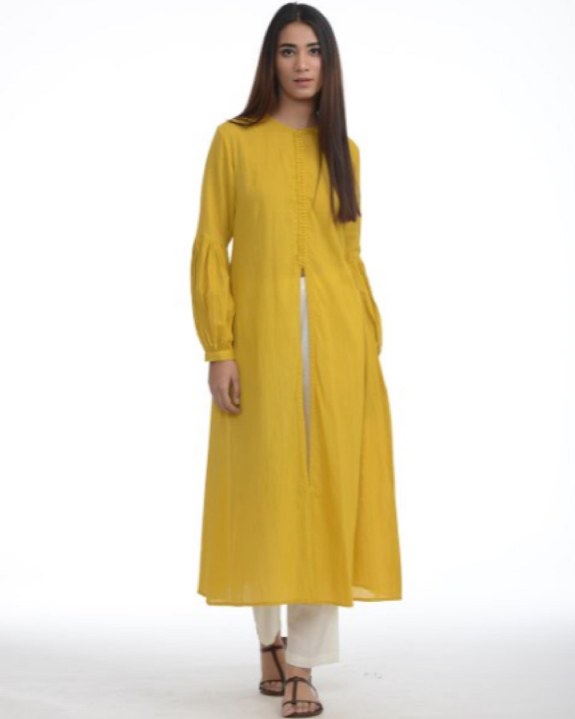 Mustard jacket kurta with pants