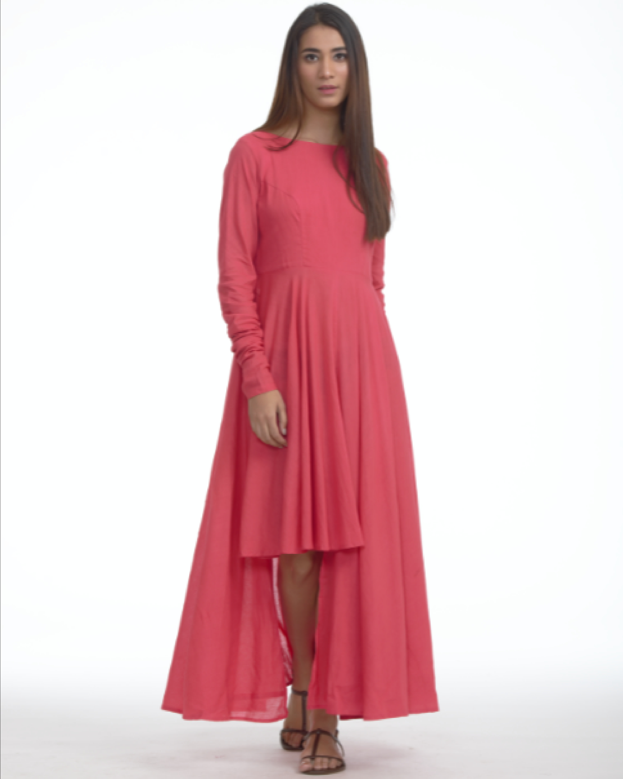 Coral pink asymmetric dress