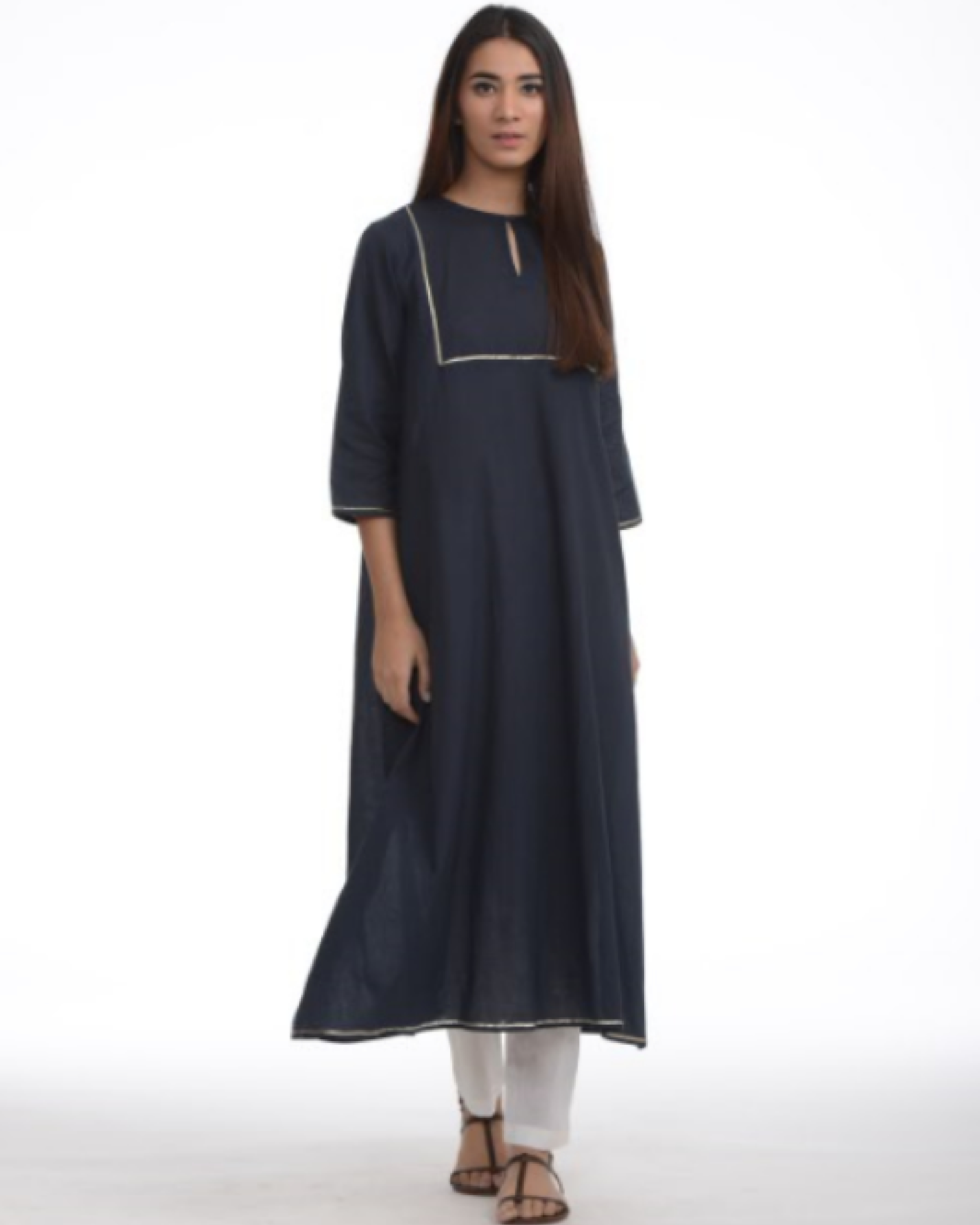 Navy blue tunic with cigarette pants