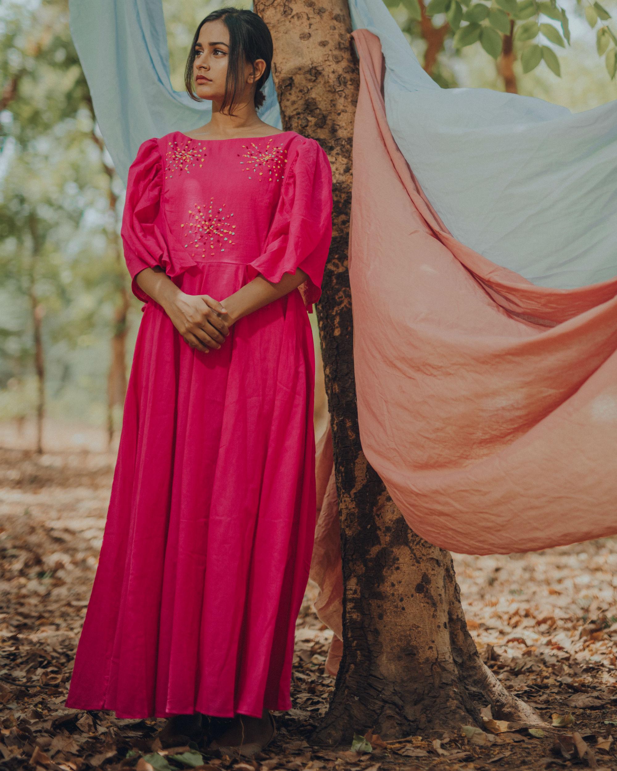 Vibrant pink frill dress