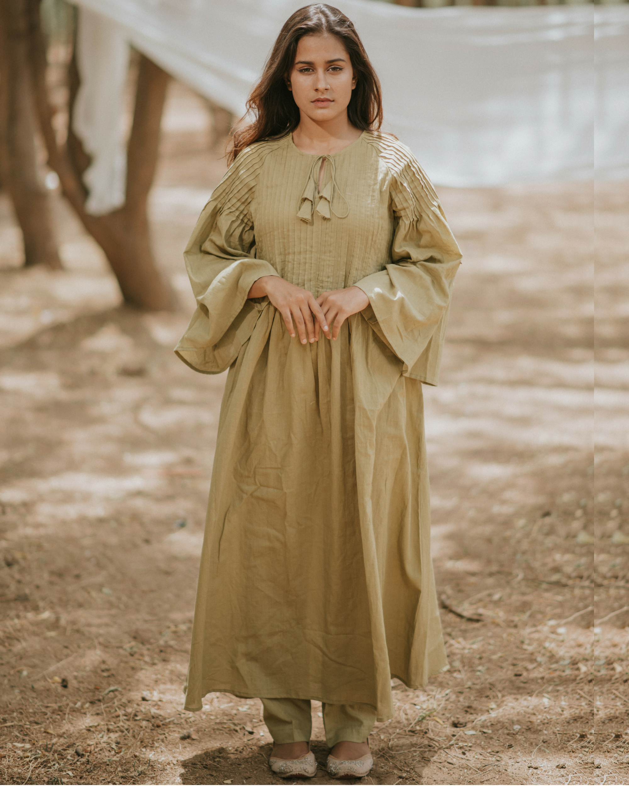Olive raglan sleeves kurta with pants
