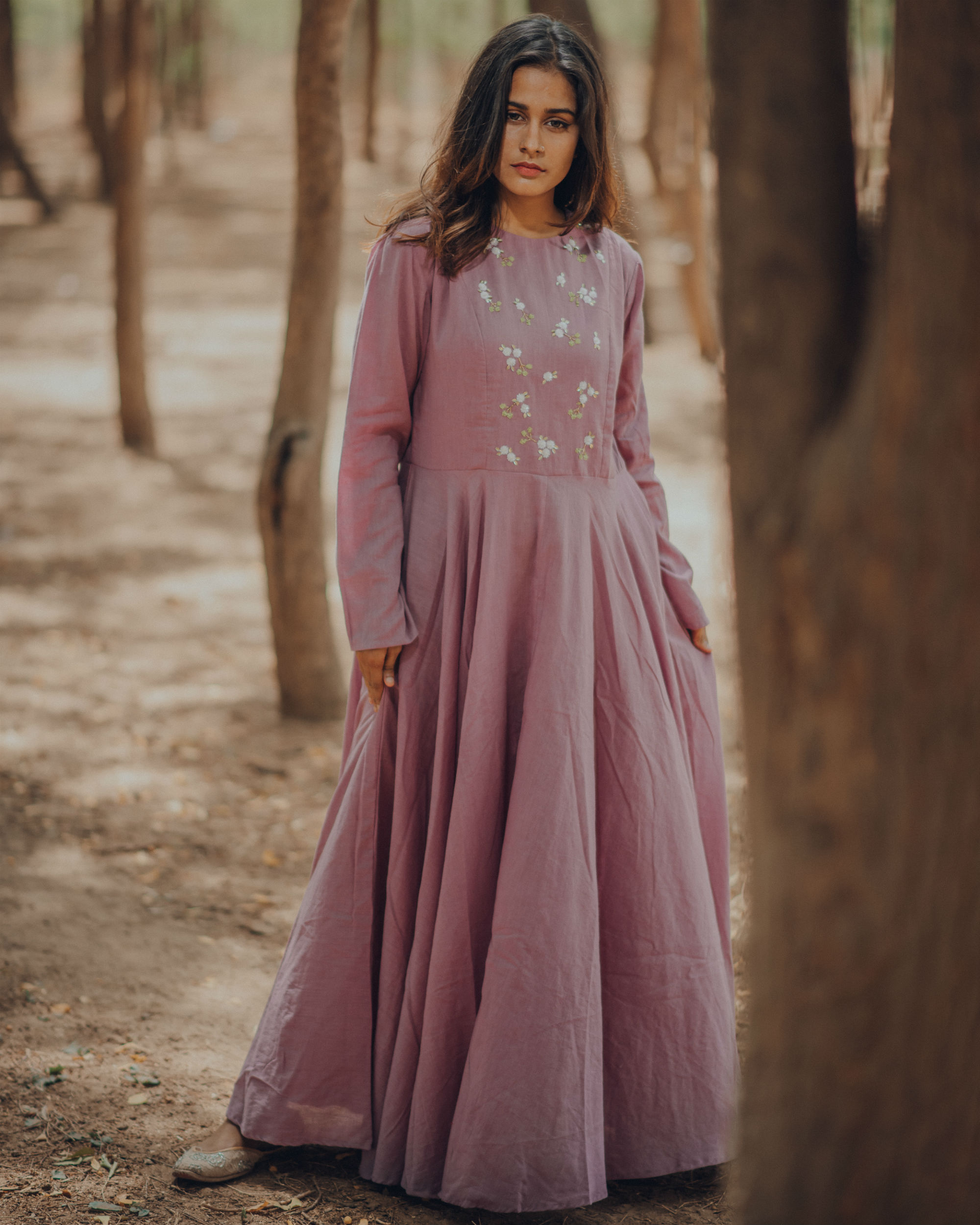 Lilac embroidery anarkali with pants
