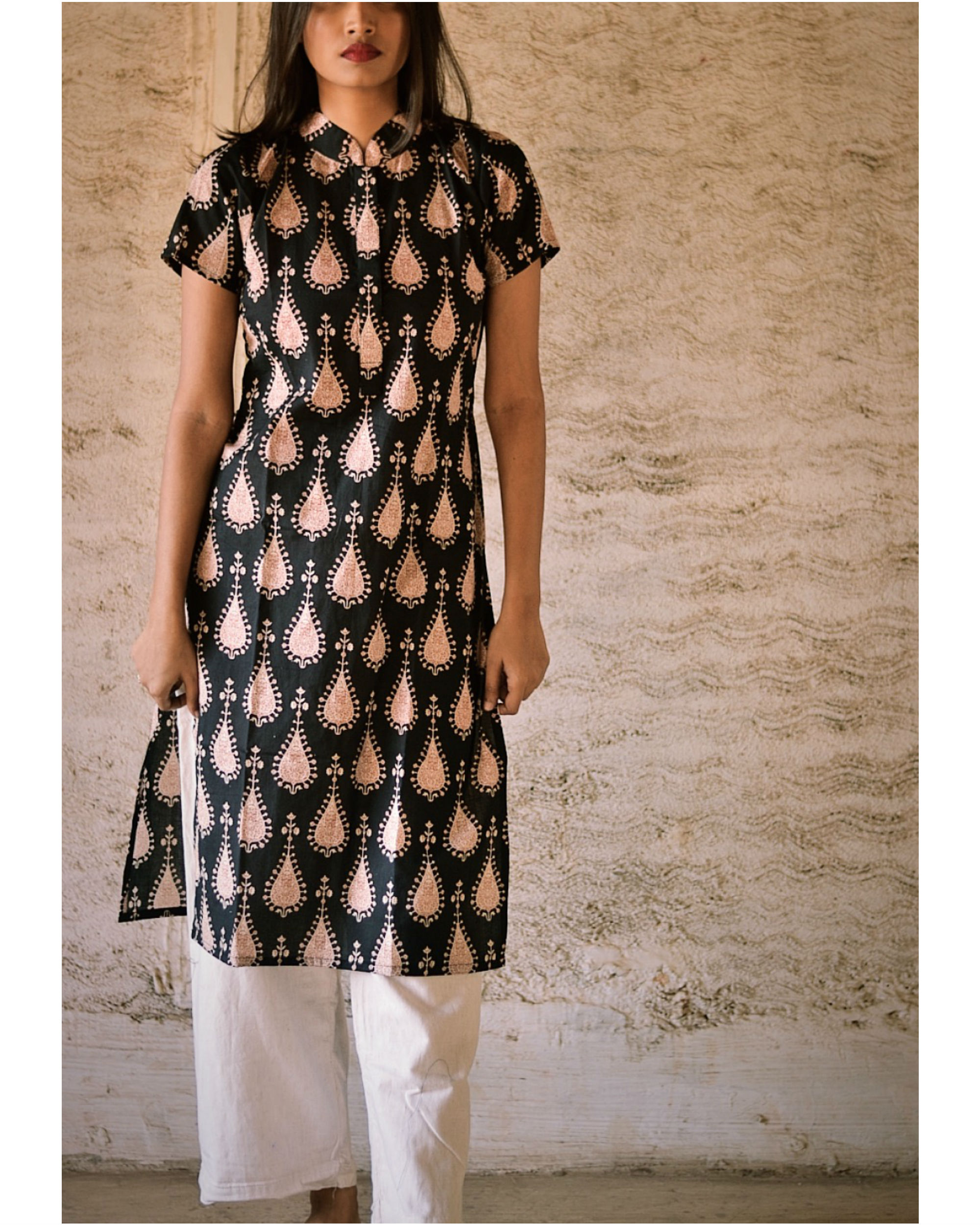 Black tribal print kurta