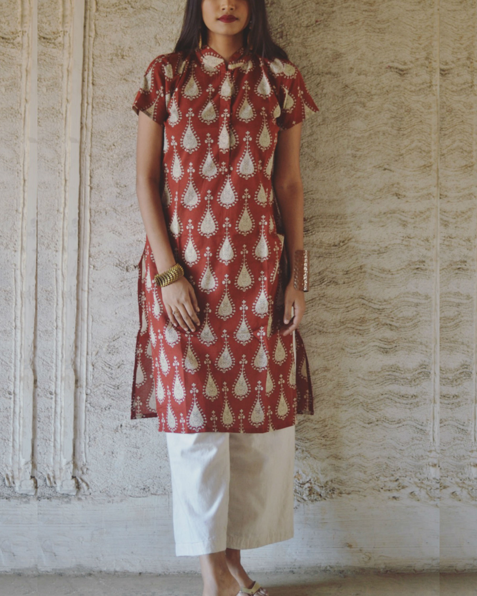 Red tribal print kurta