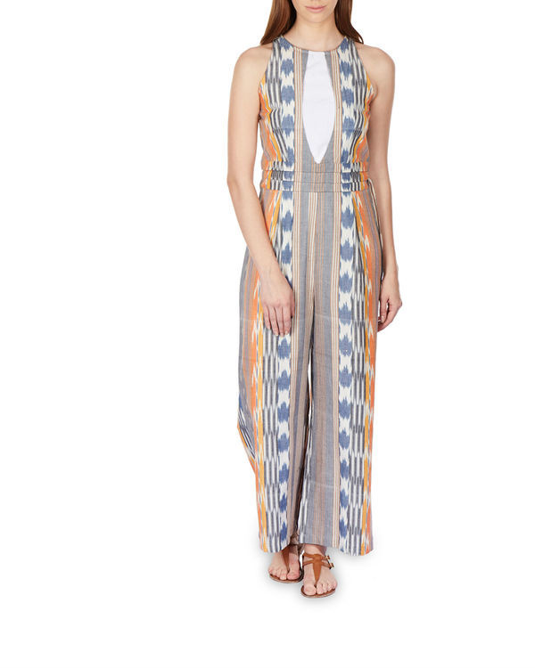 Striped ikat jumpsuit