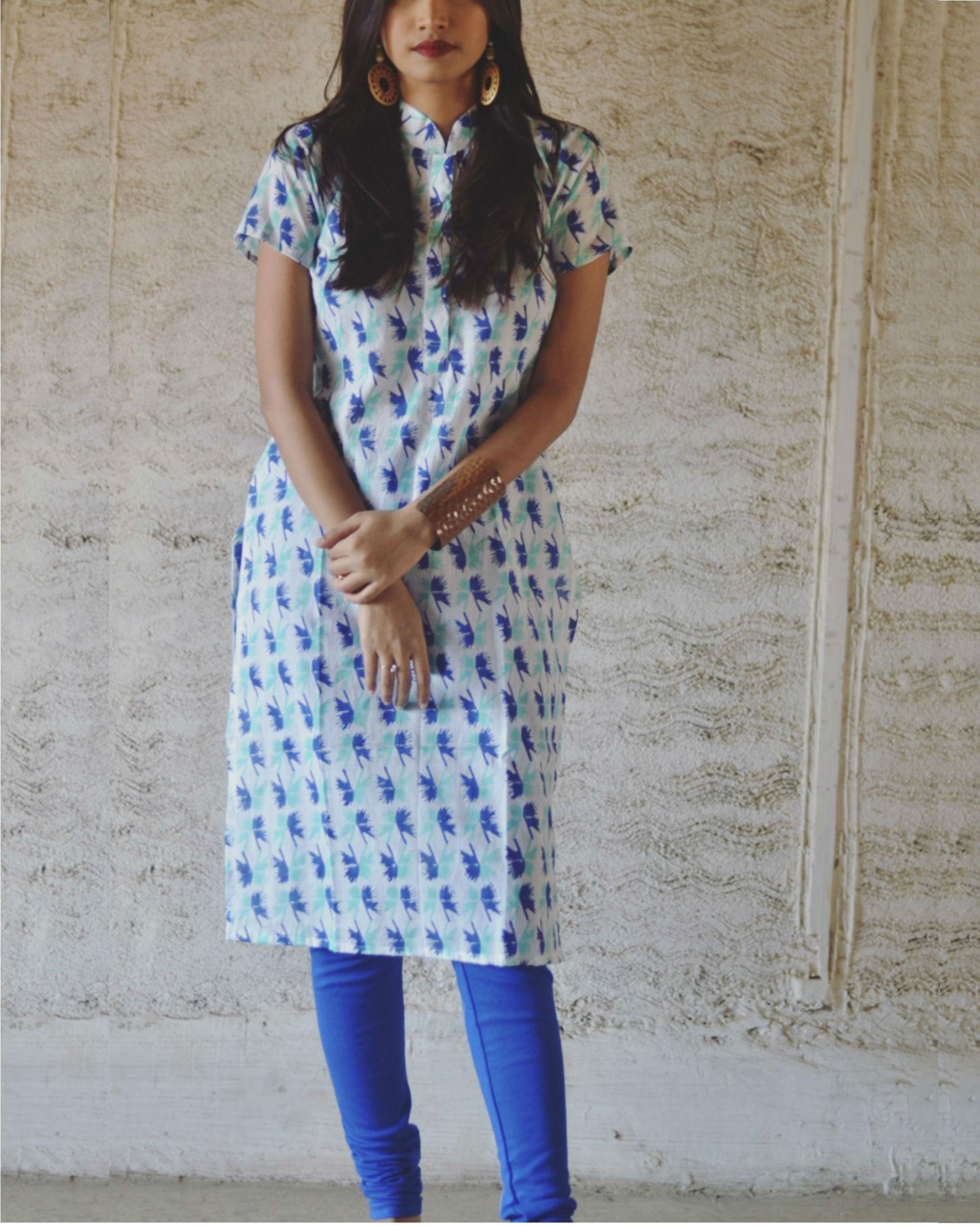 Blue abstract print kurta