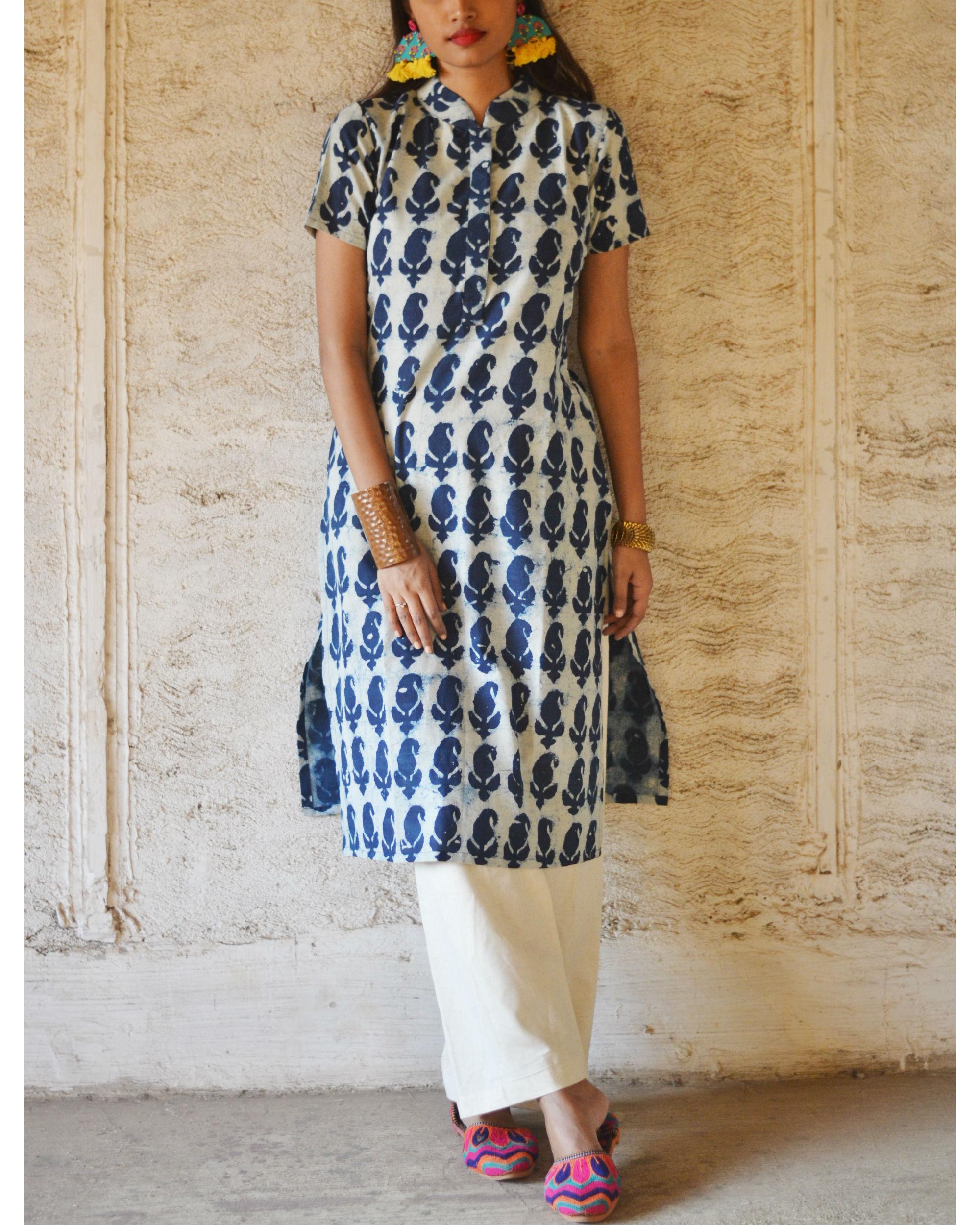 Indigo paisley print kurta