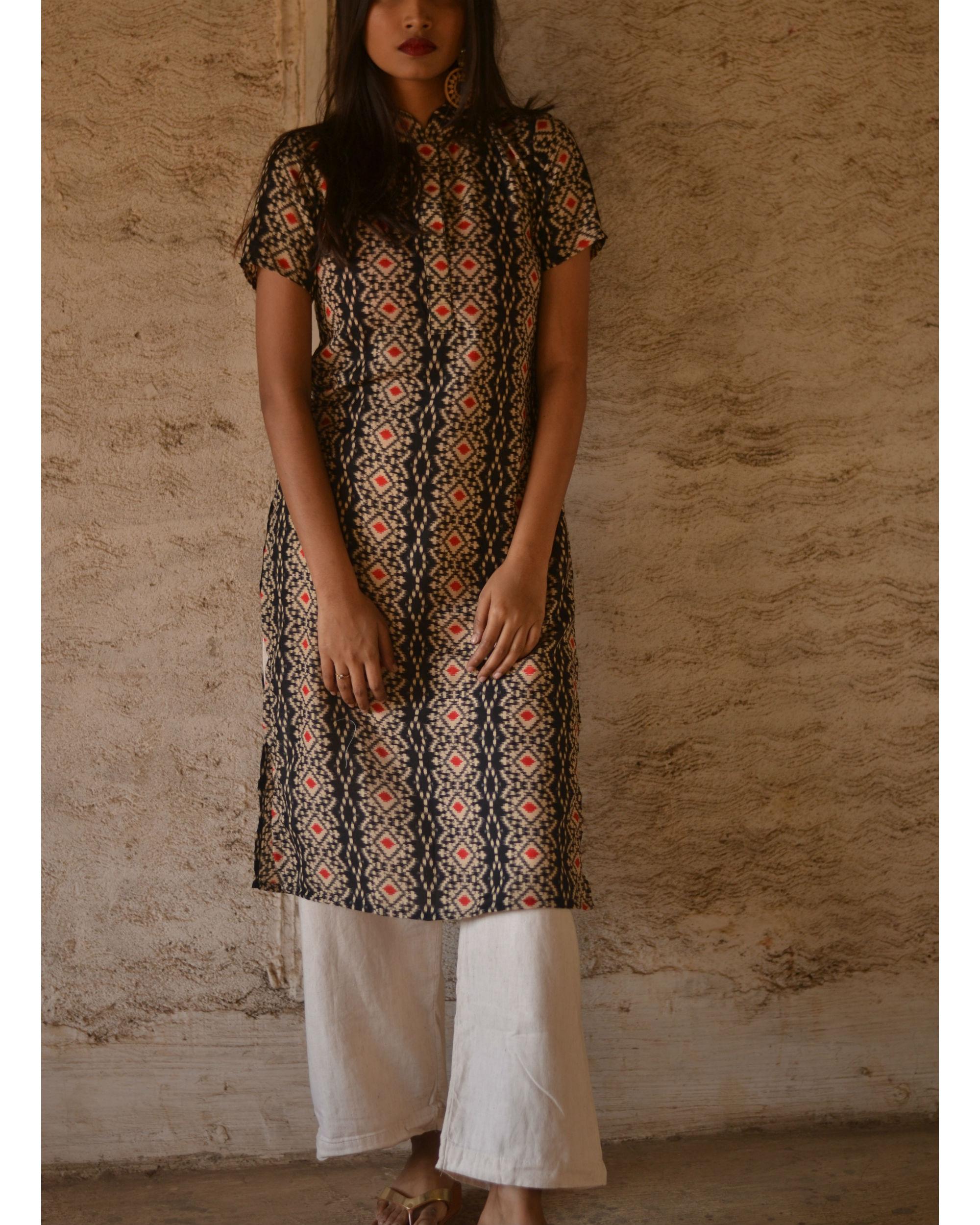 55fd8712c2ba Black geometric print kurta by Tie & Dye Tale | The Secret Label