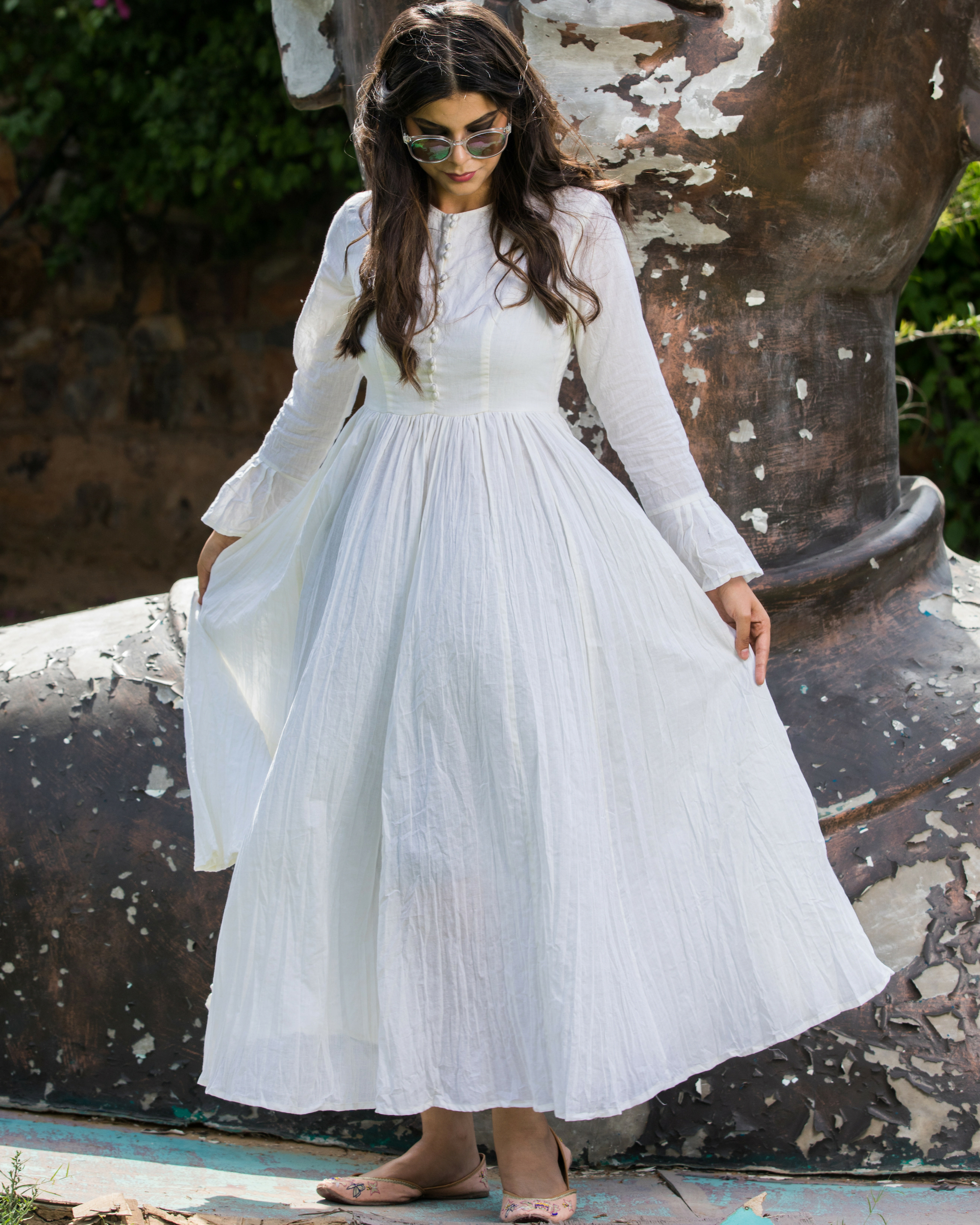 Crinkle ivory dress