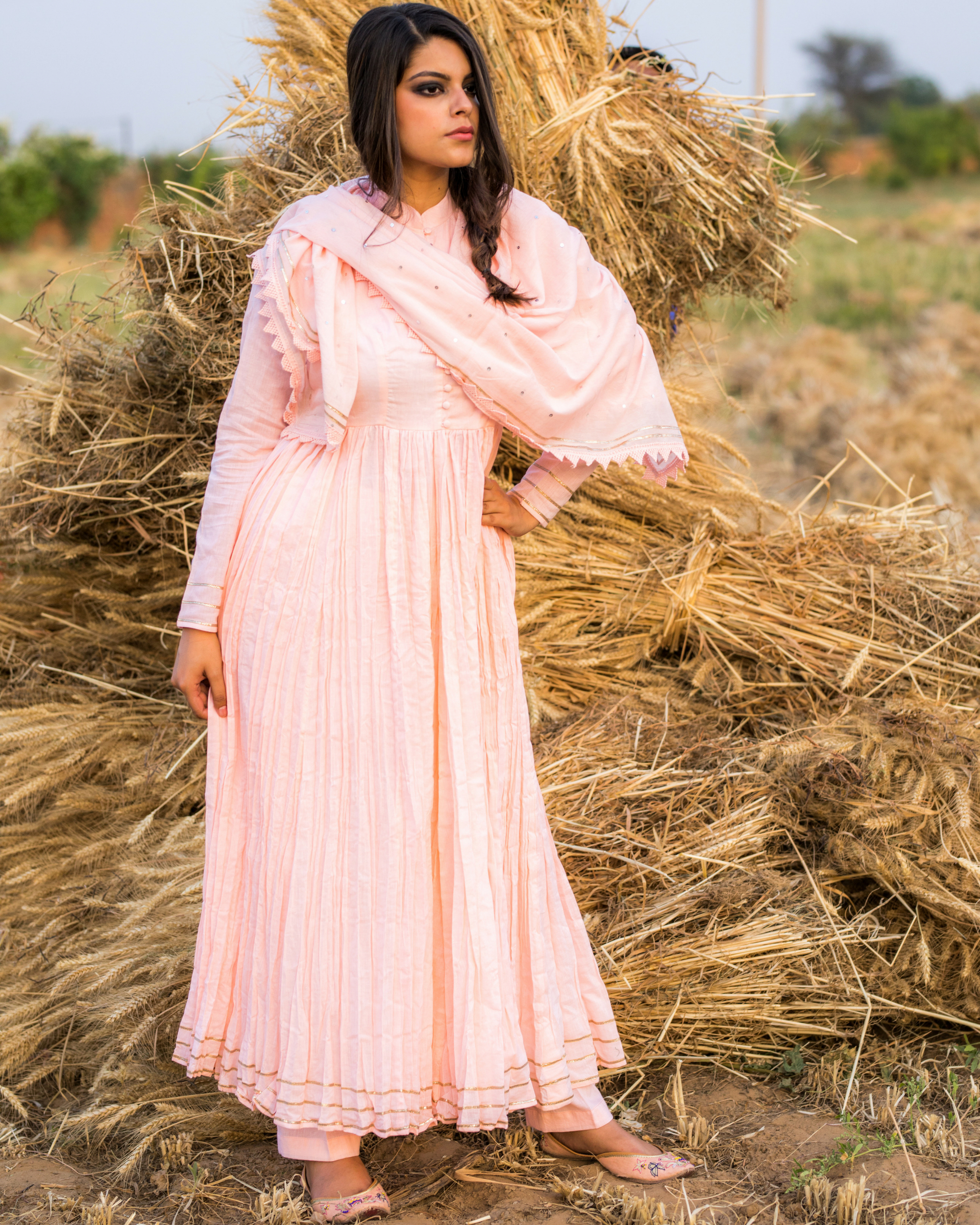 Pink detailed anarkali with pants