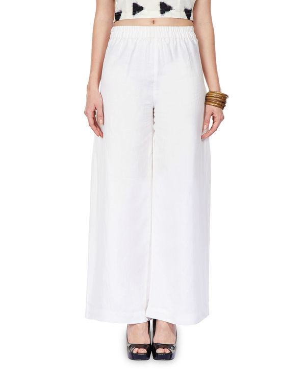 Side pleated palazzo pants