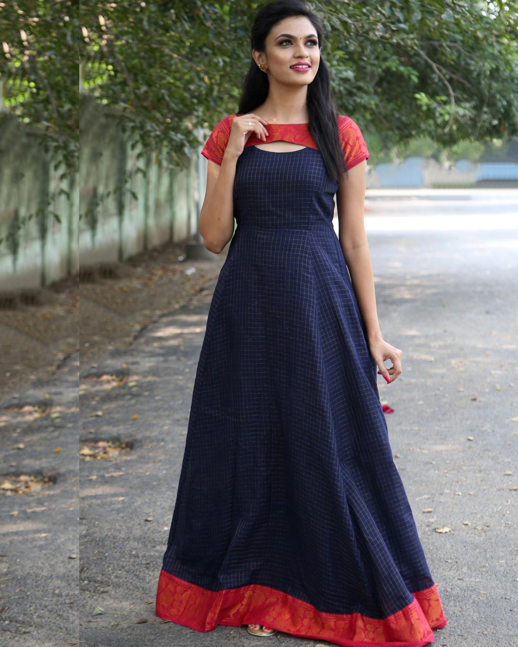 Oxford blue anarkali dress