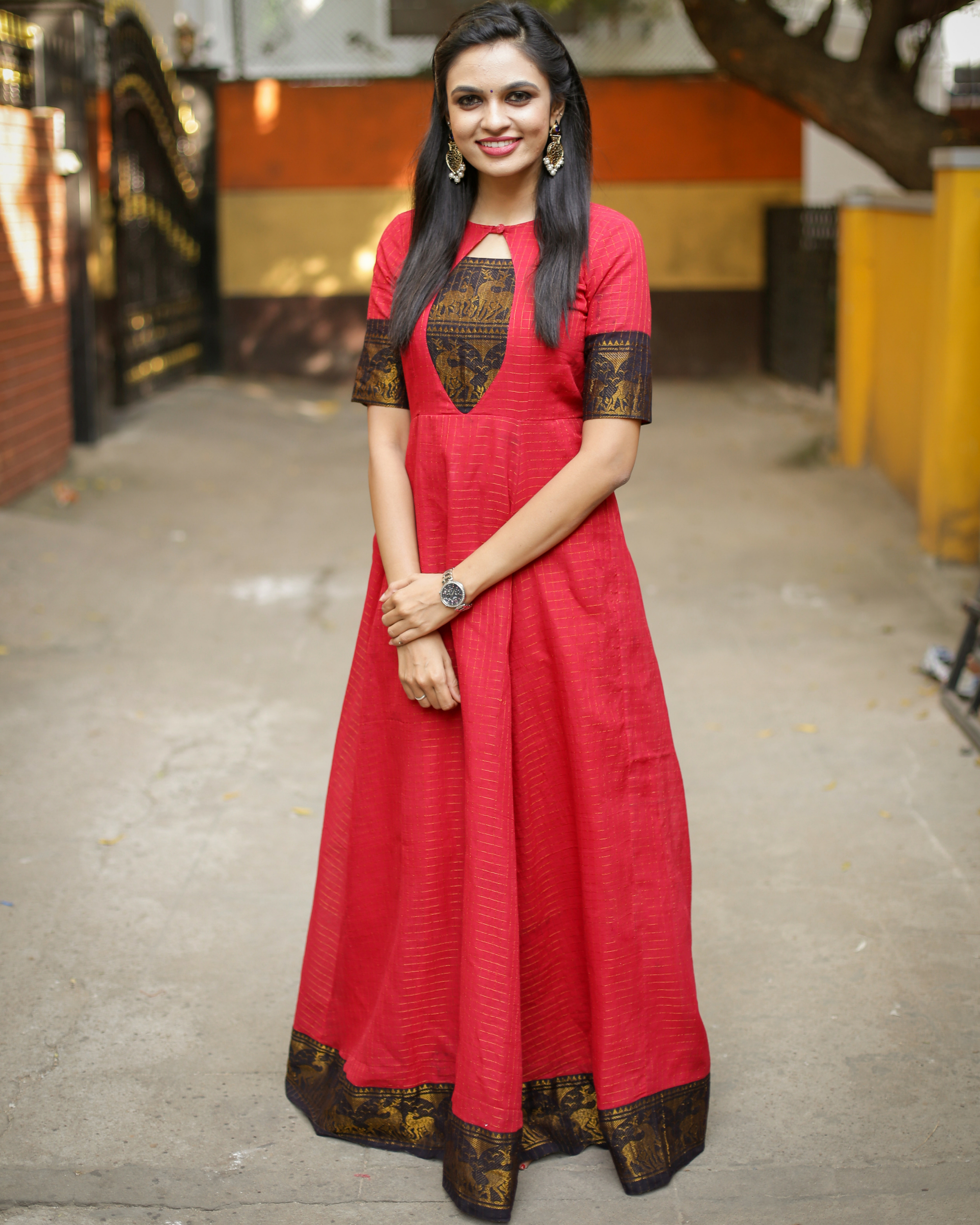 Raspberry anarkali dress