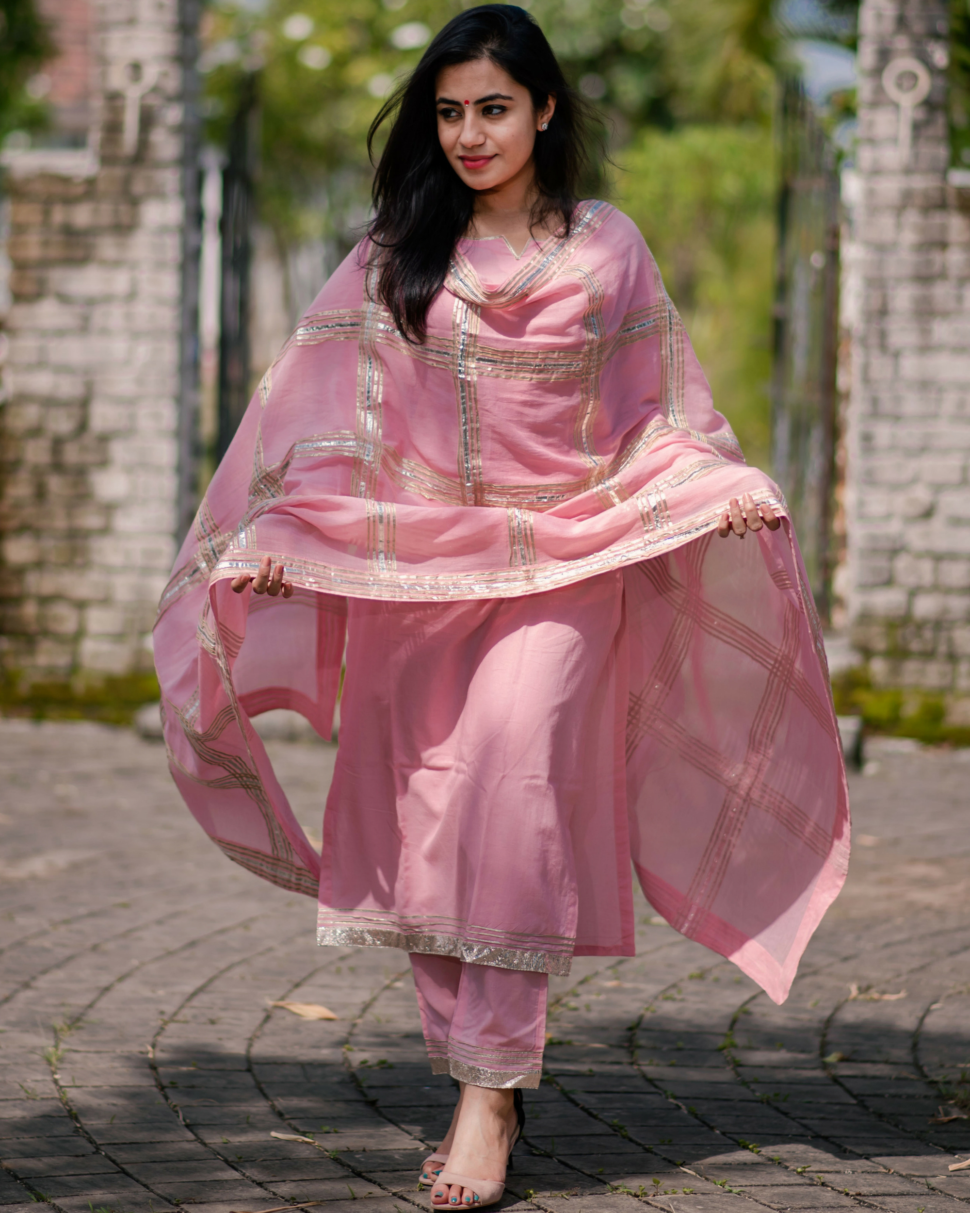 Pink gota embroidered cotton set