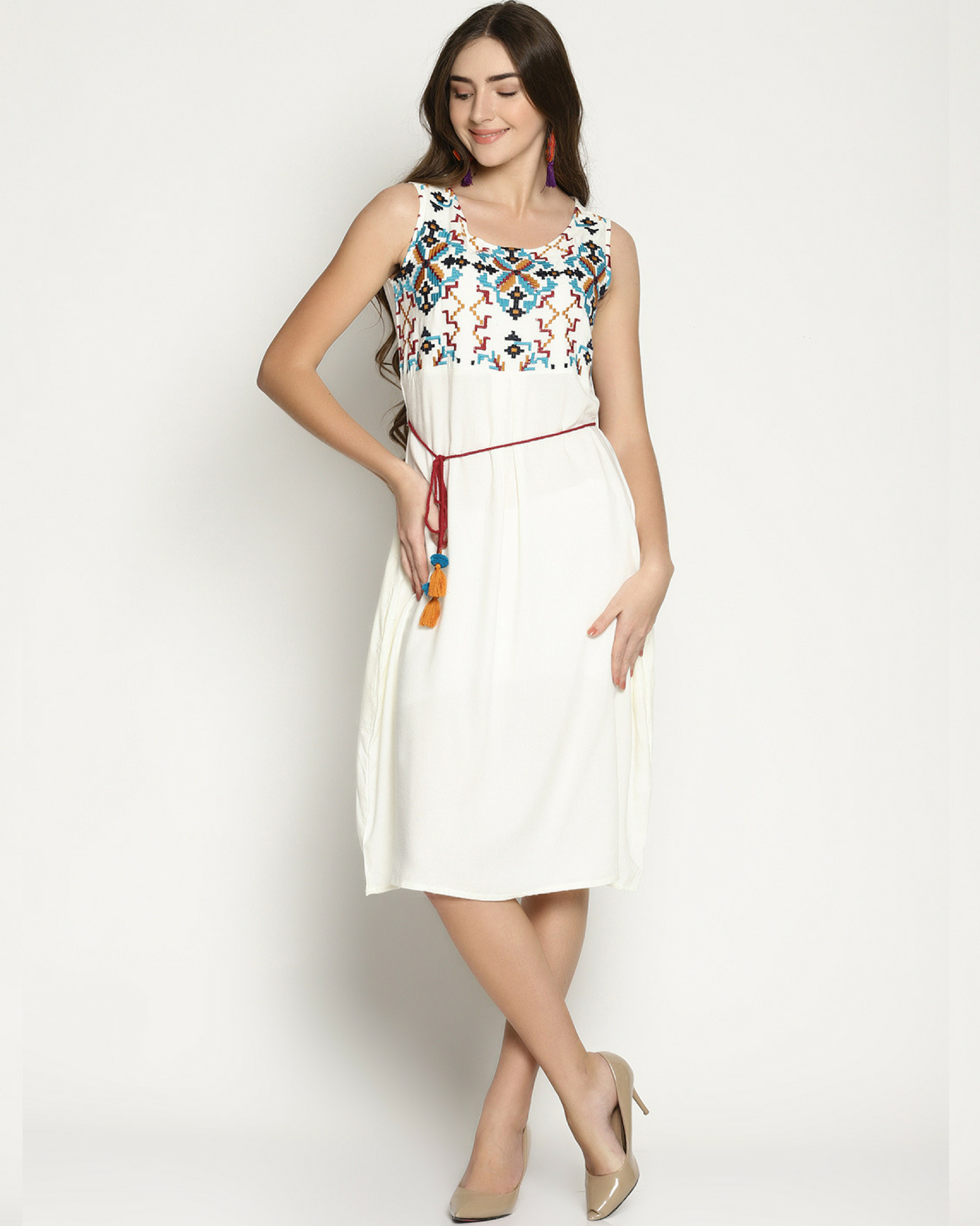Aztec embroidery dress