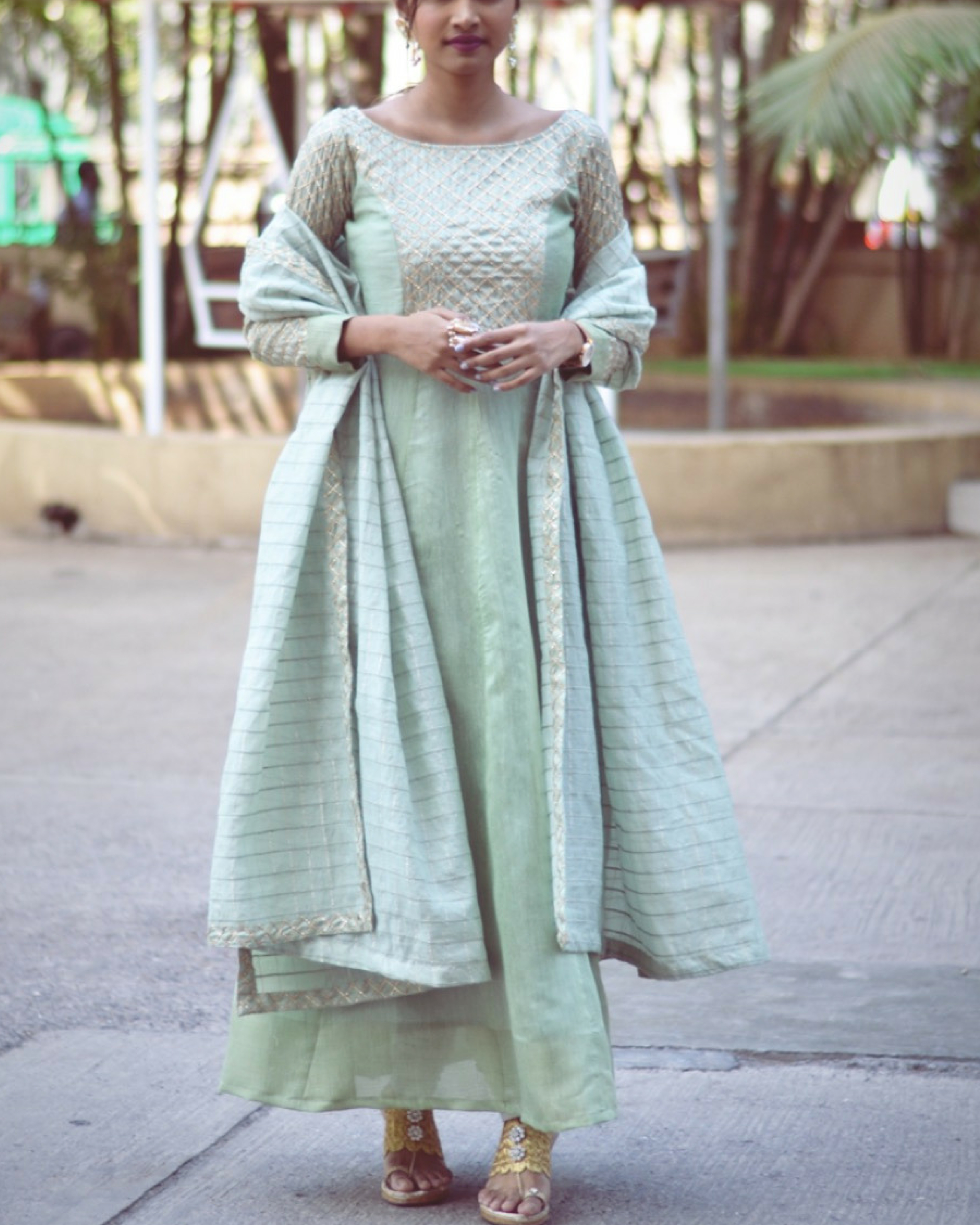 Pastel green kurta with dupatta