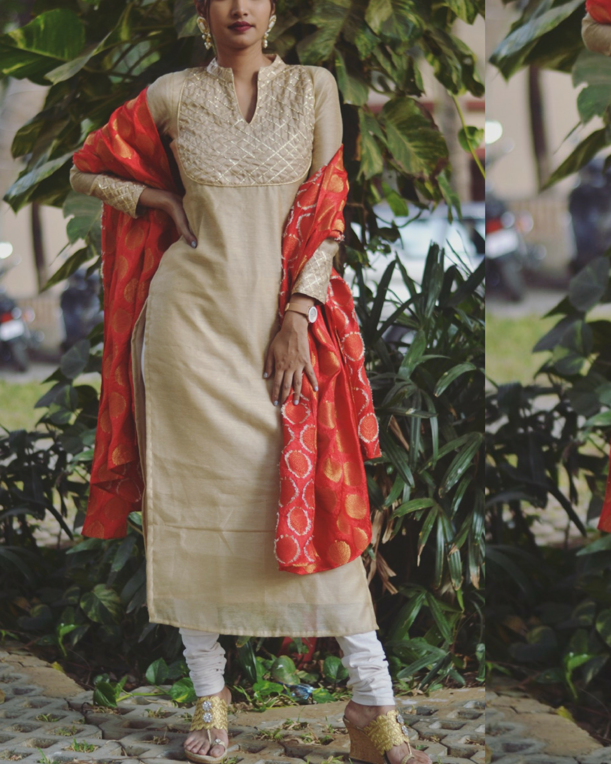Bling gold kurta with dupatta
