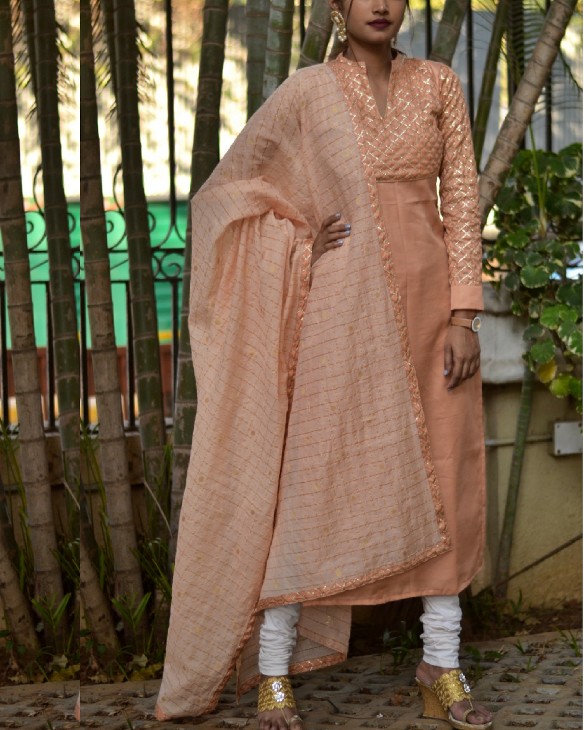 Bling orange kurta with dupatta