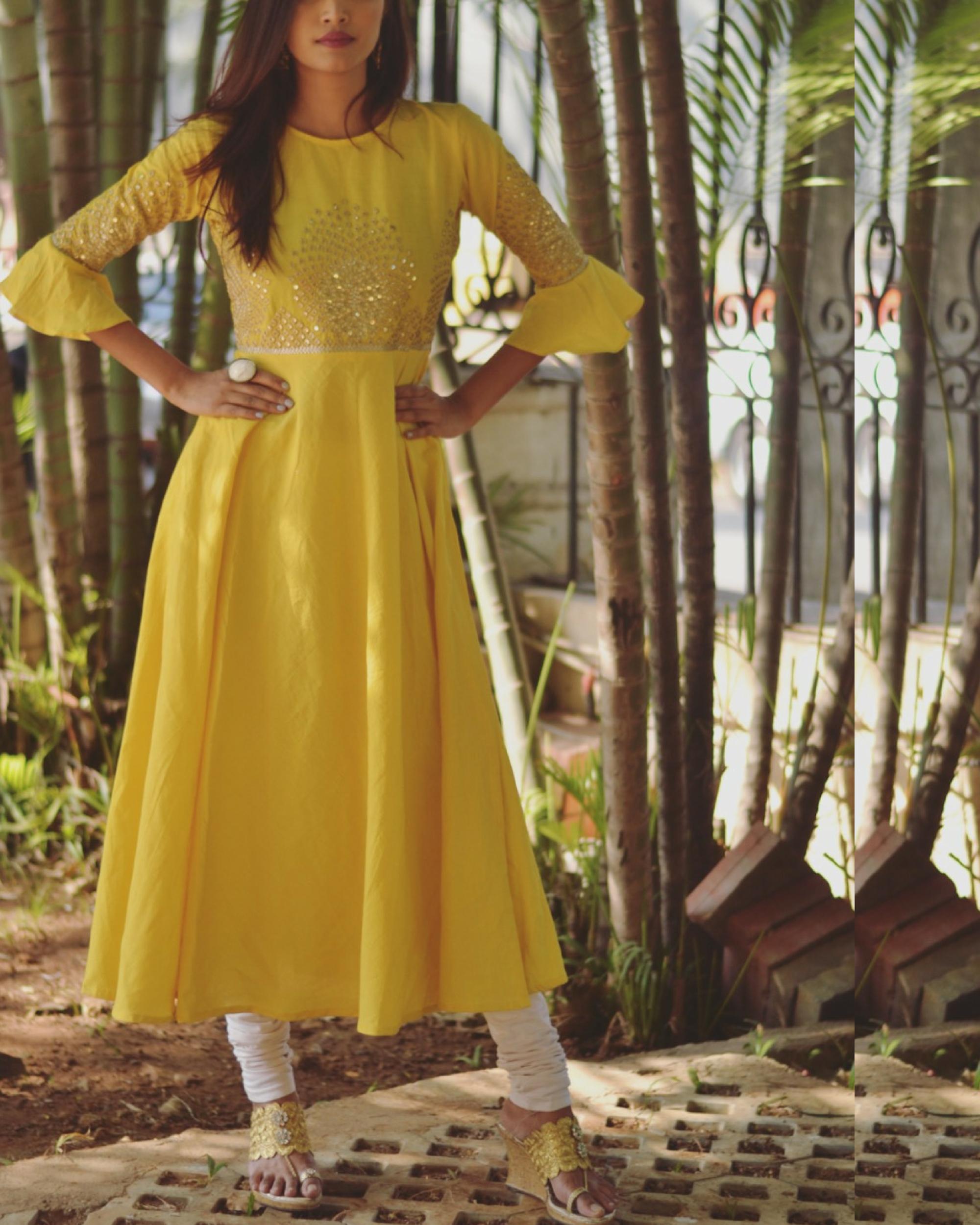 Yellow bell sleeve dress