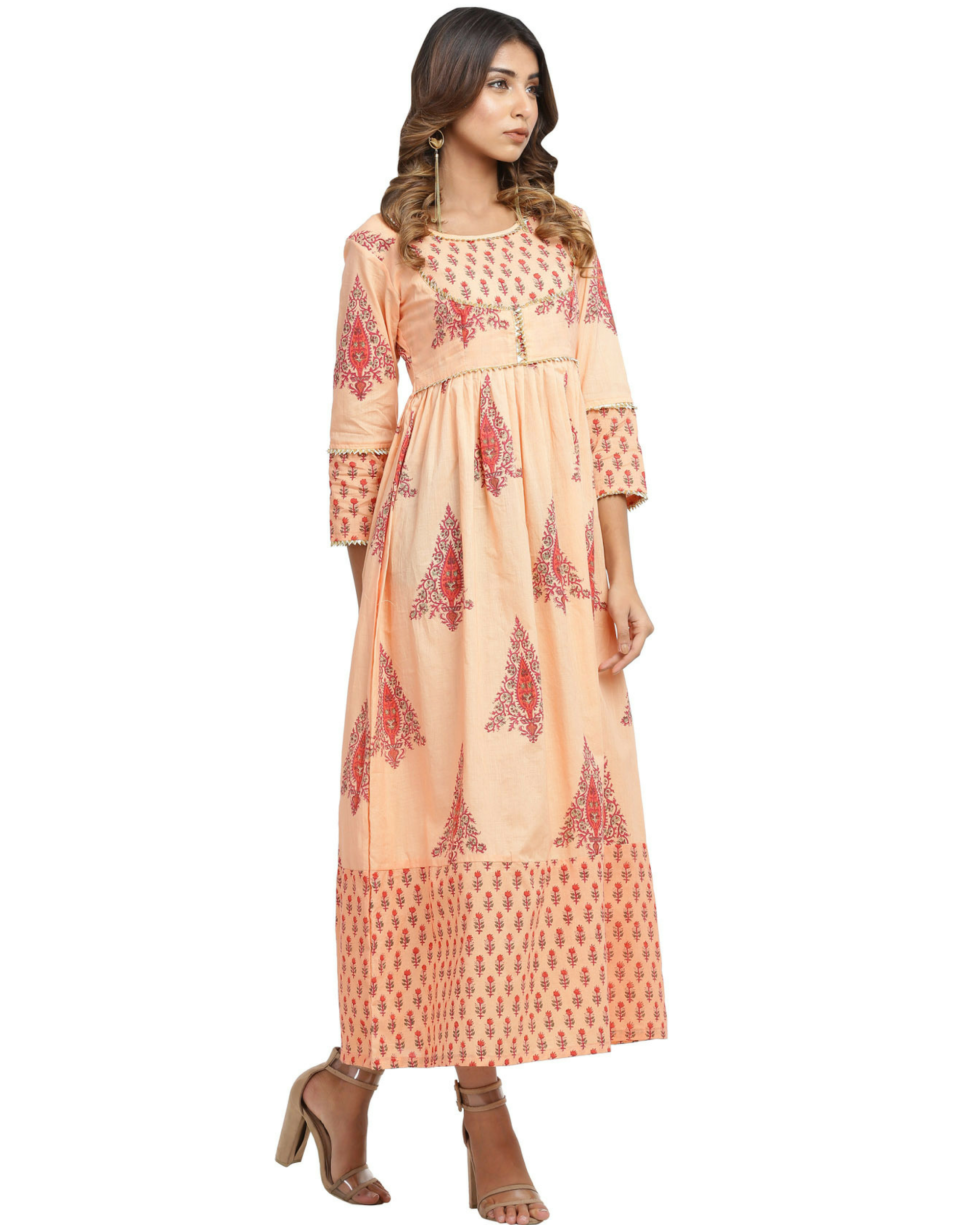 Orange and peach gota dress