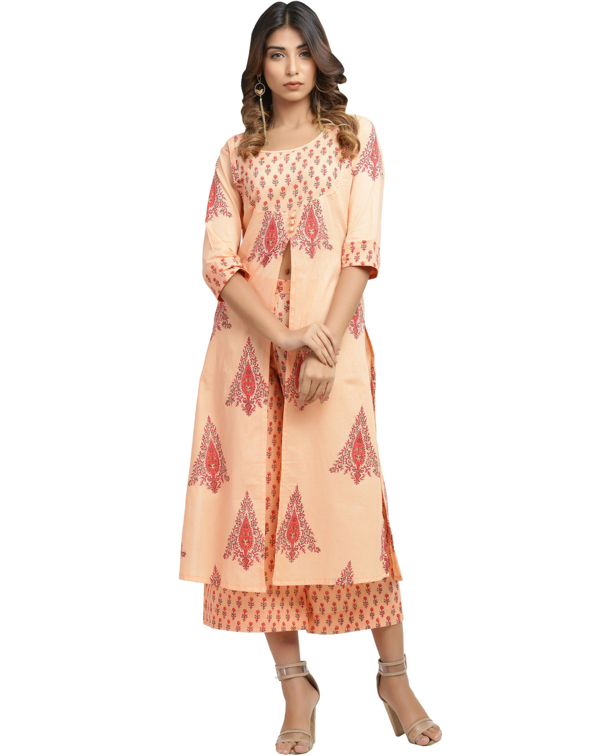 Tangerine slit kurta with pants
