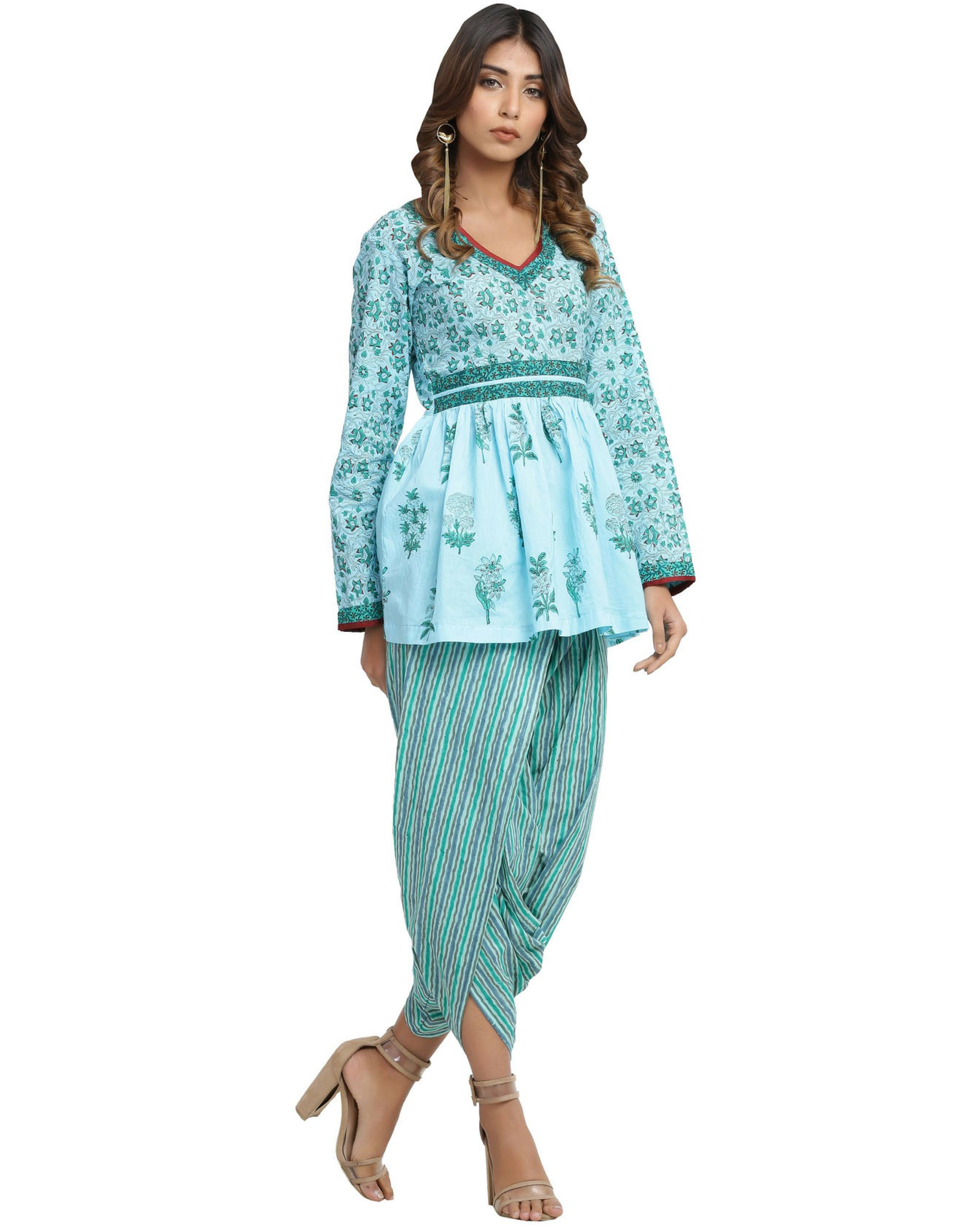 Turquoise dhoti set