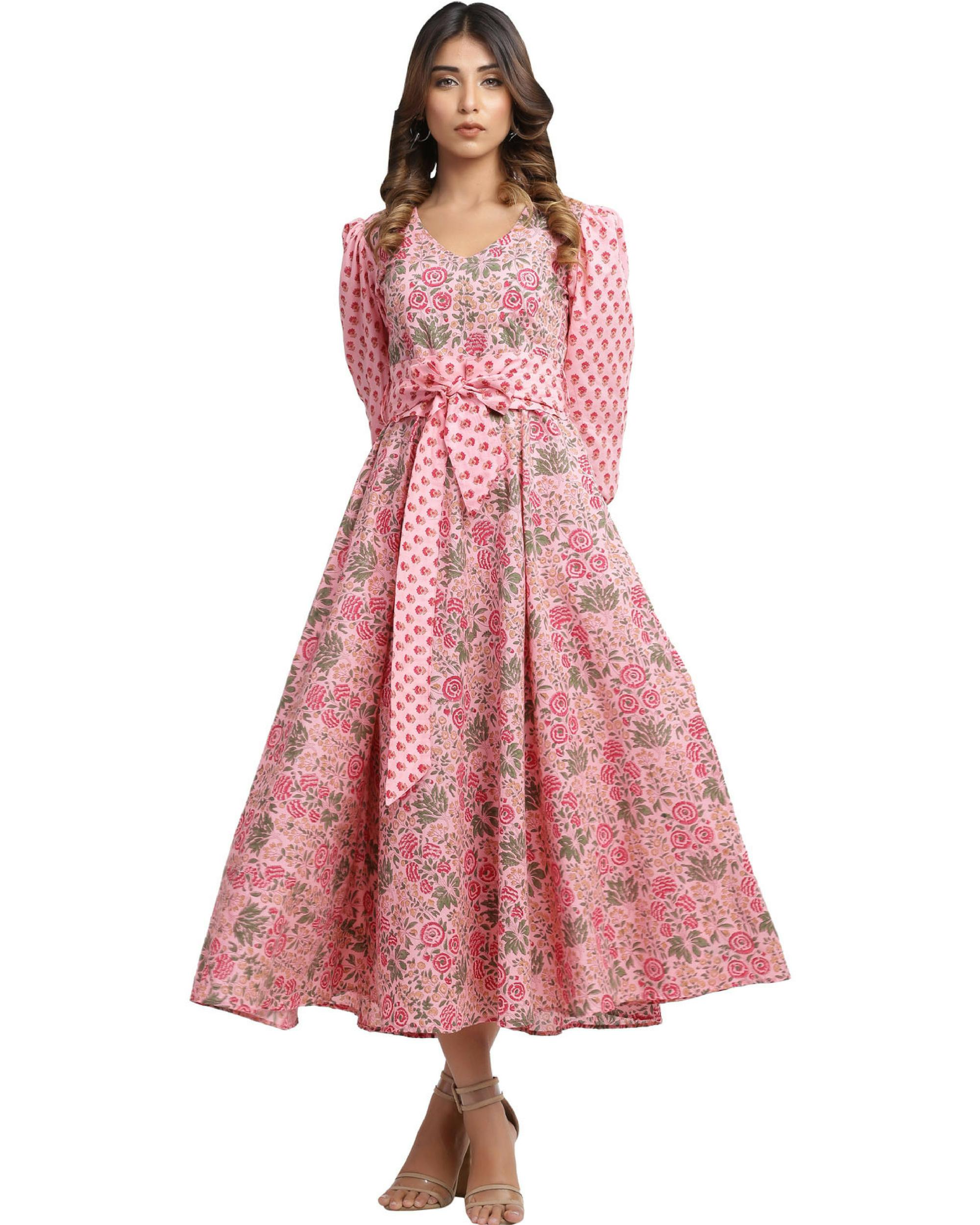 Pure cotton flamingo pink dress