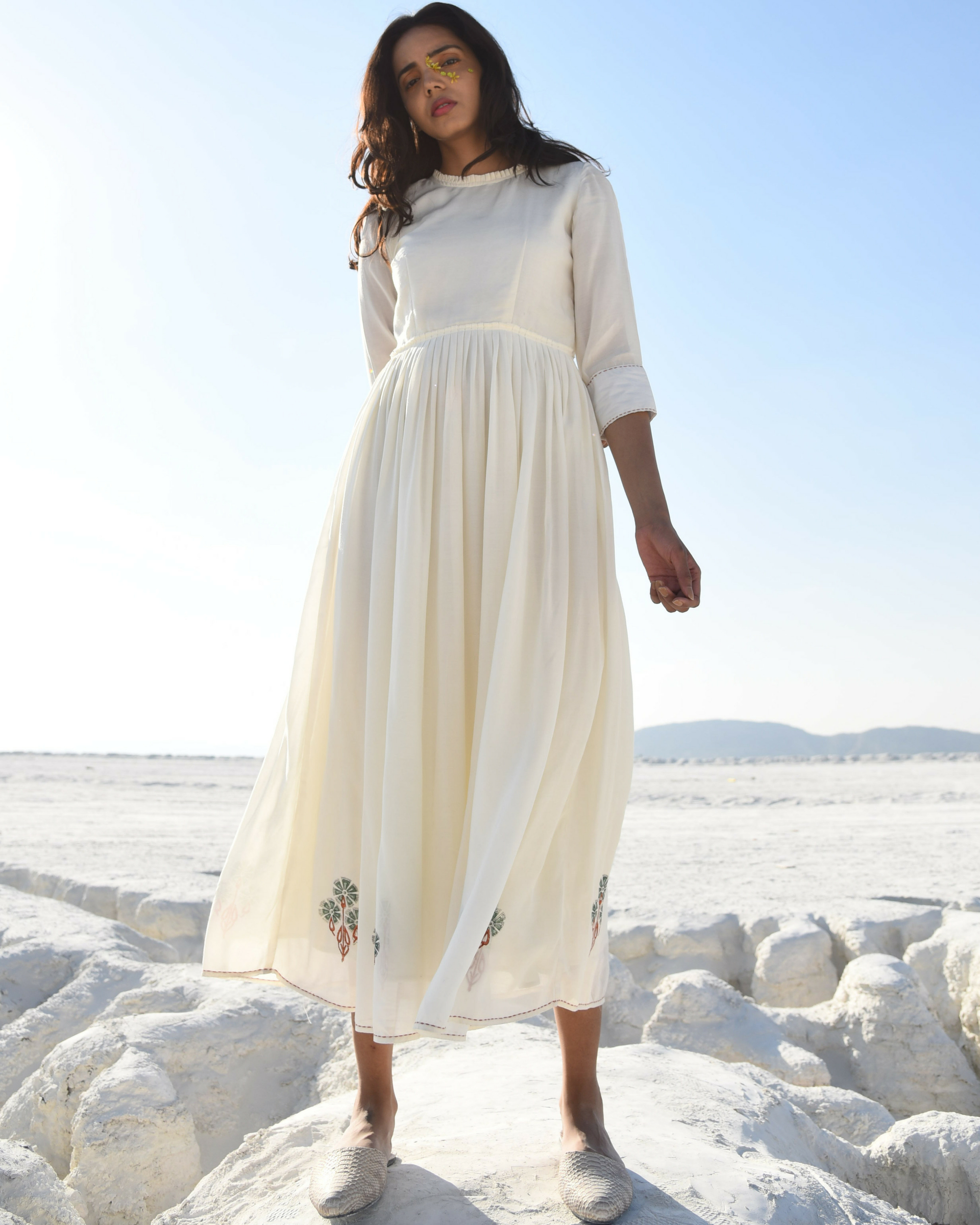 Rusty white kantha maxi dress