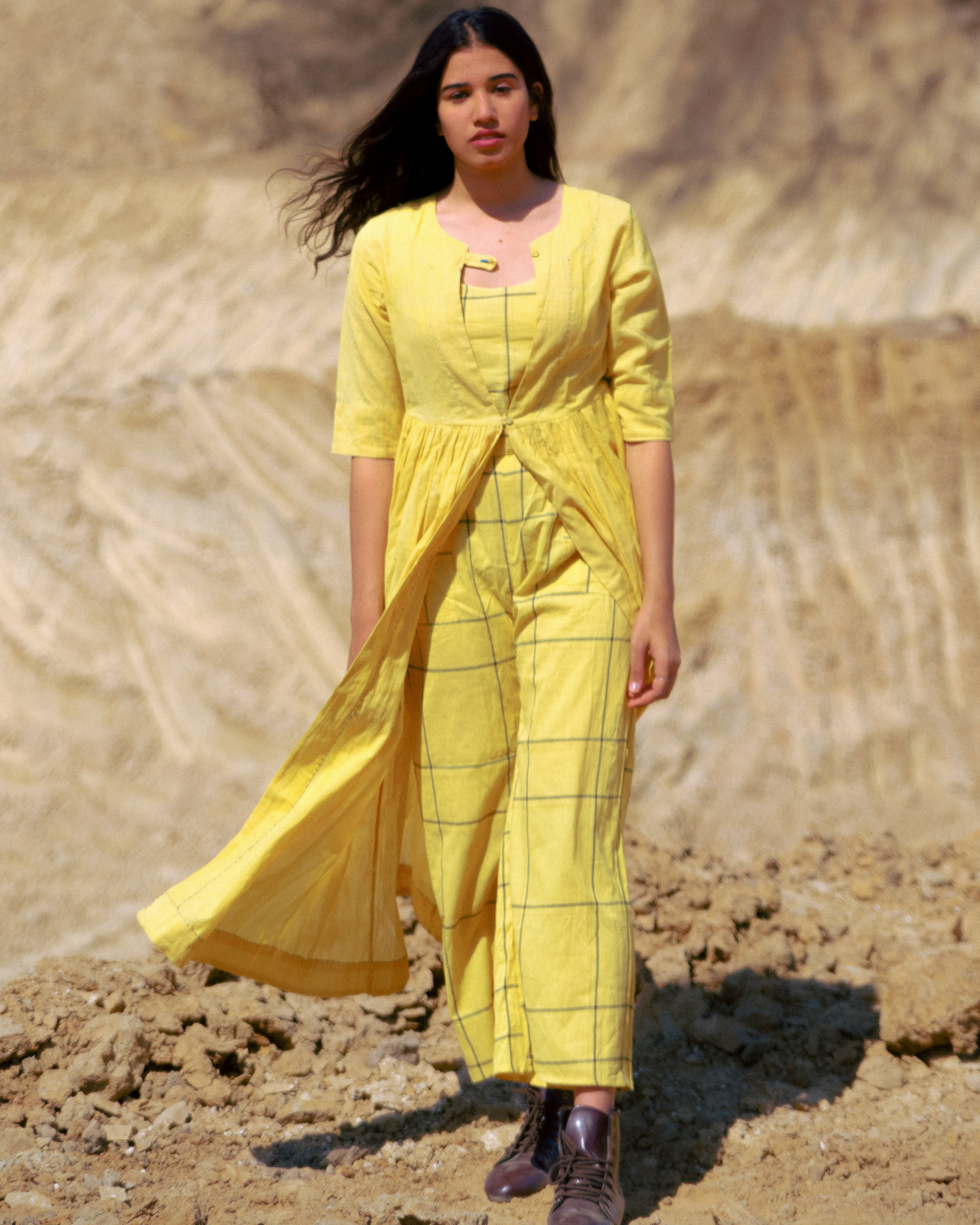 Mustard handloom gathered jacket with crop top set