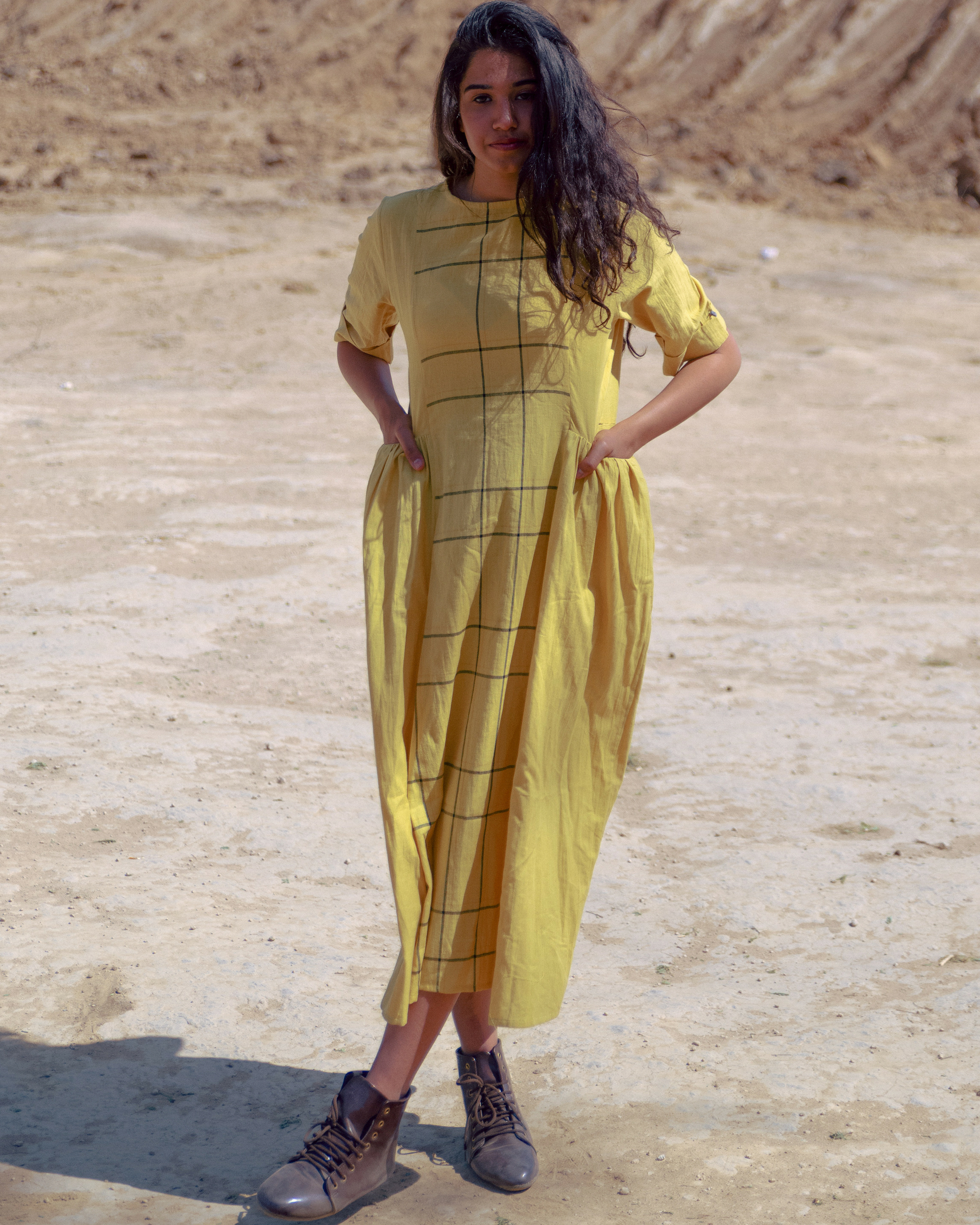 Mustard handloom cotton midi dress