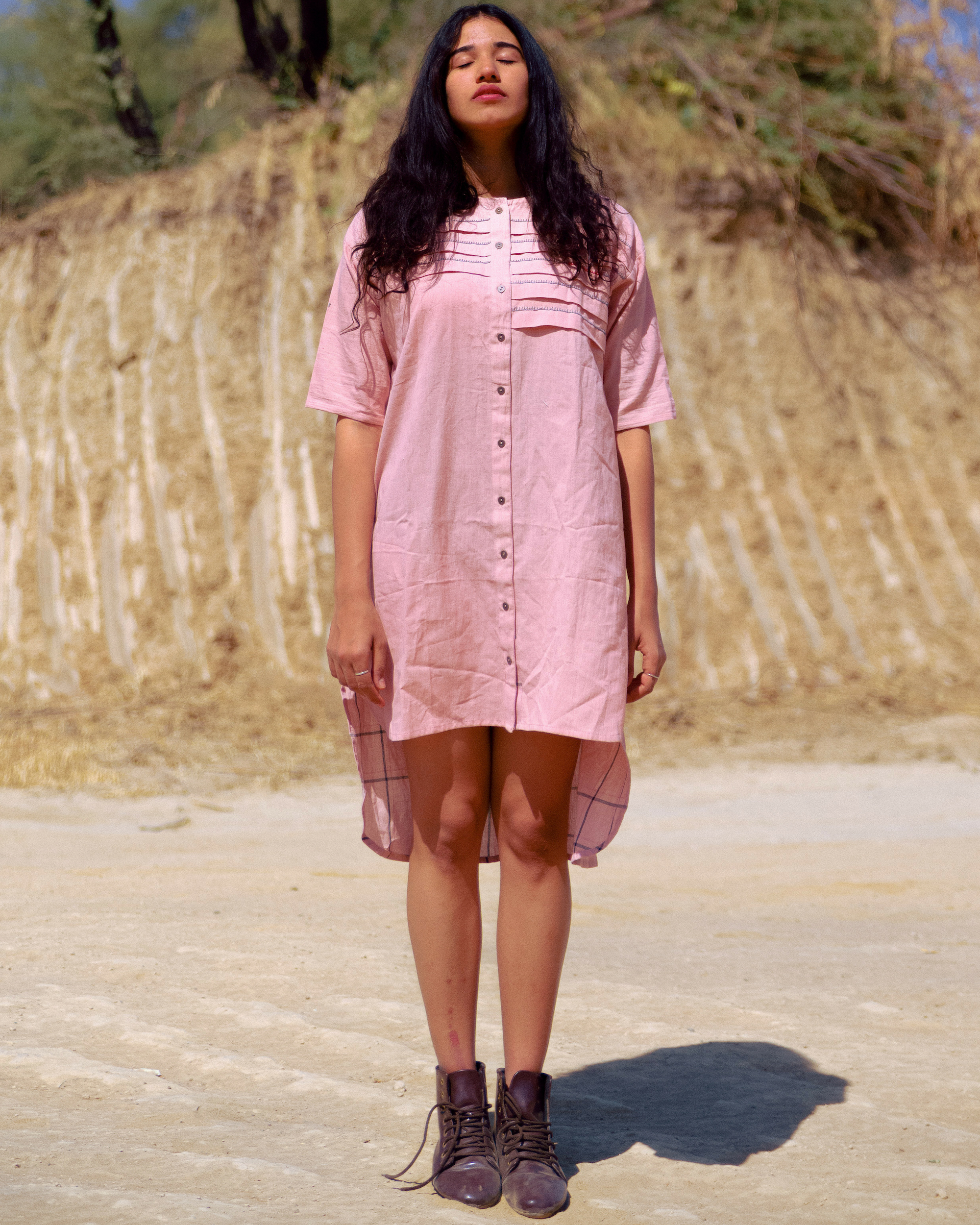 Dusty pink pleated dress