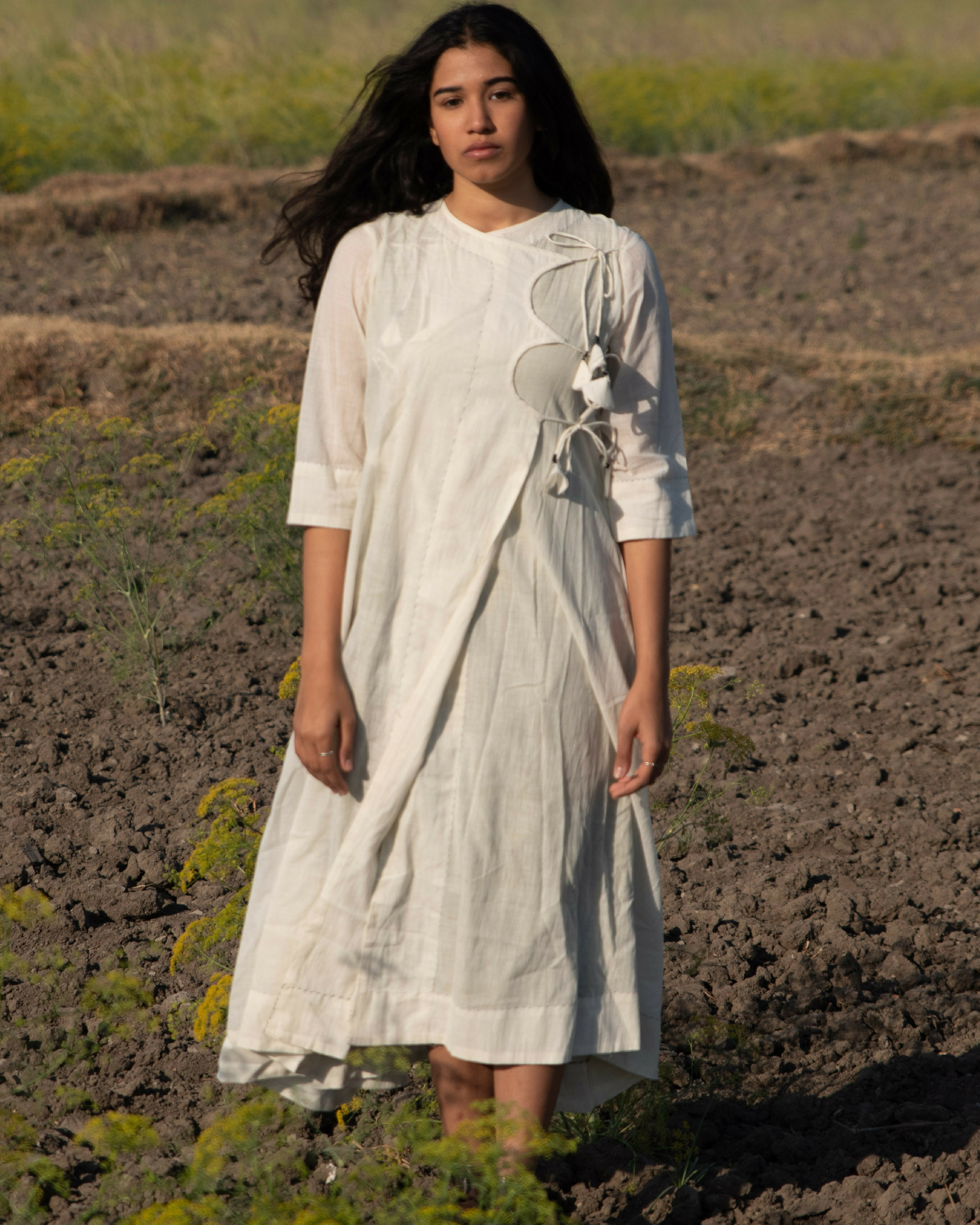 Mulmul angrakha kurta with white slip