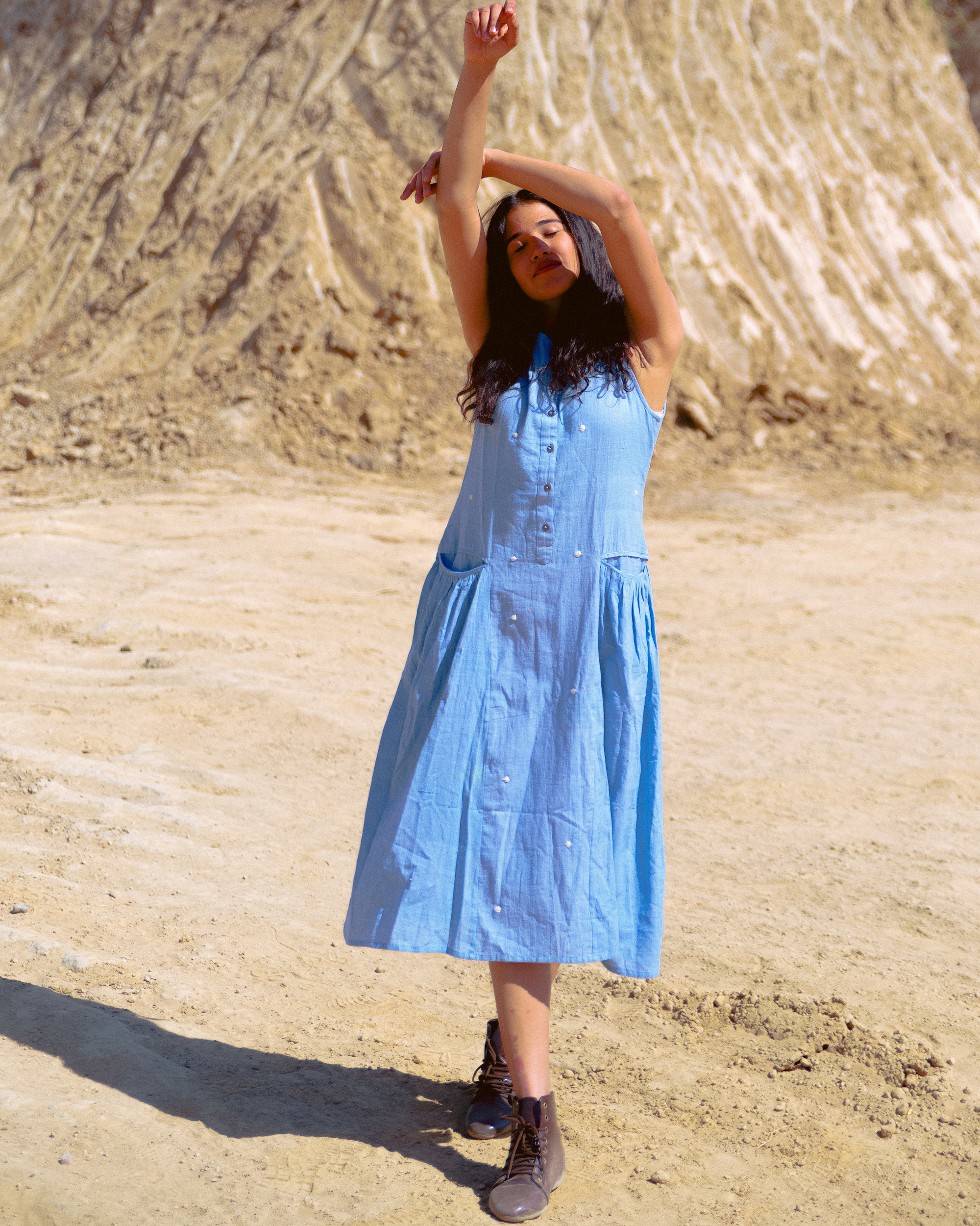 Sky blue khadi dress