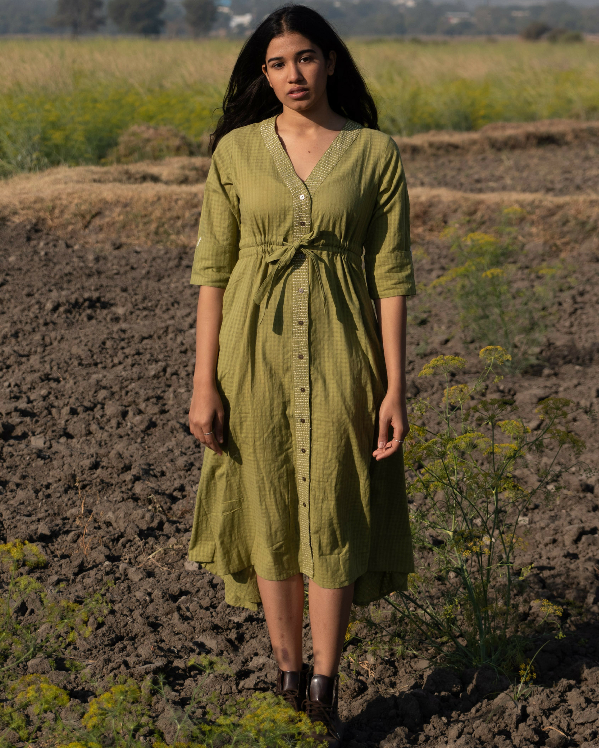Moss green mulmul dress