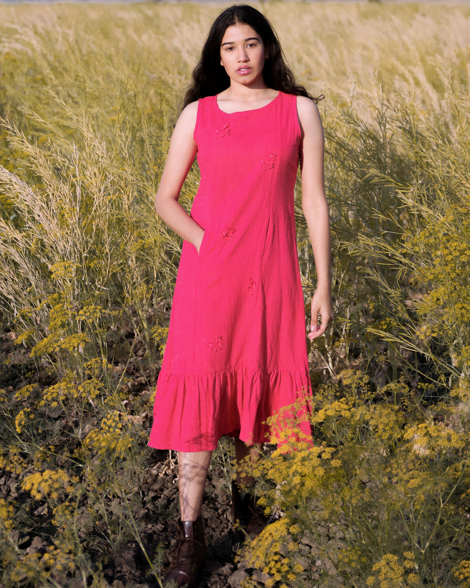Crimson sleeveless floral dress