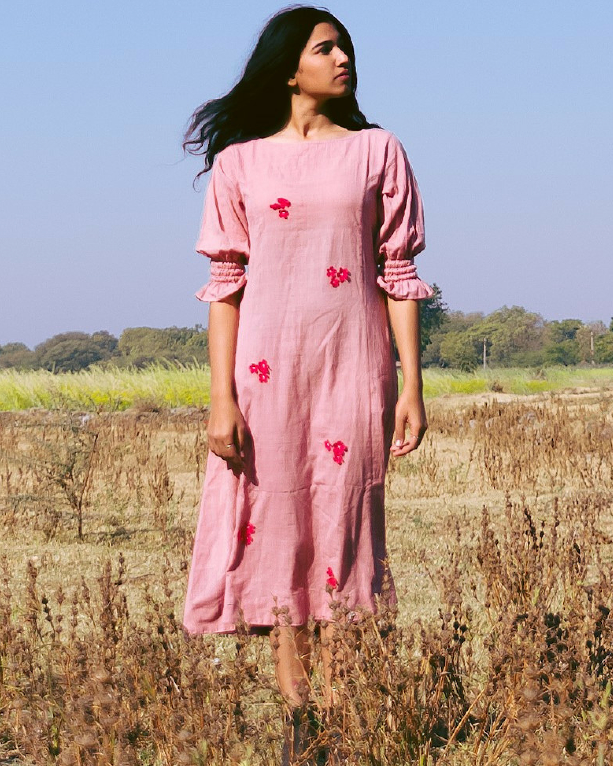 Crimson flowers dusty pink dress