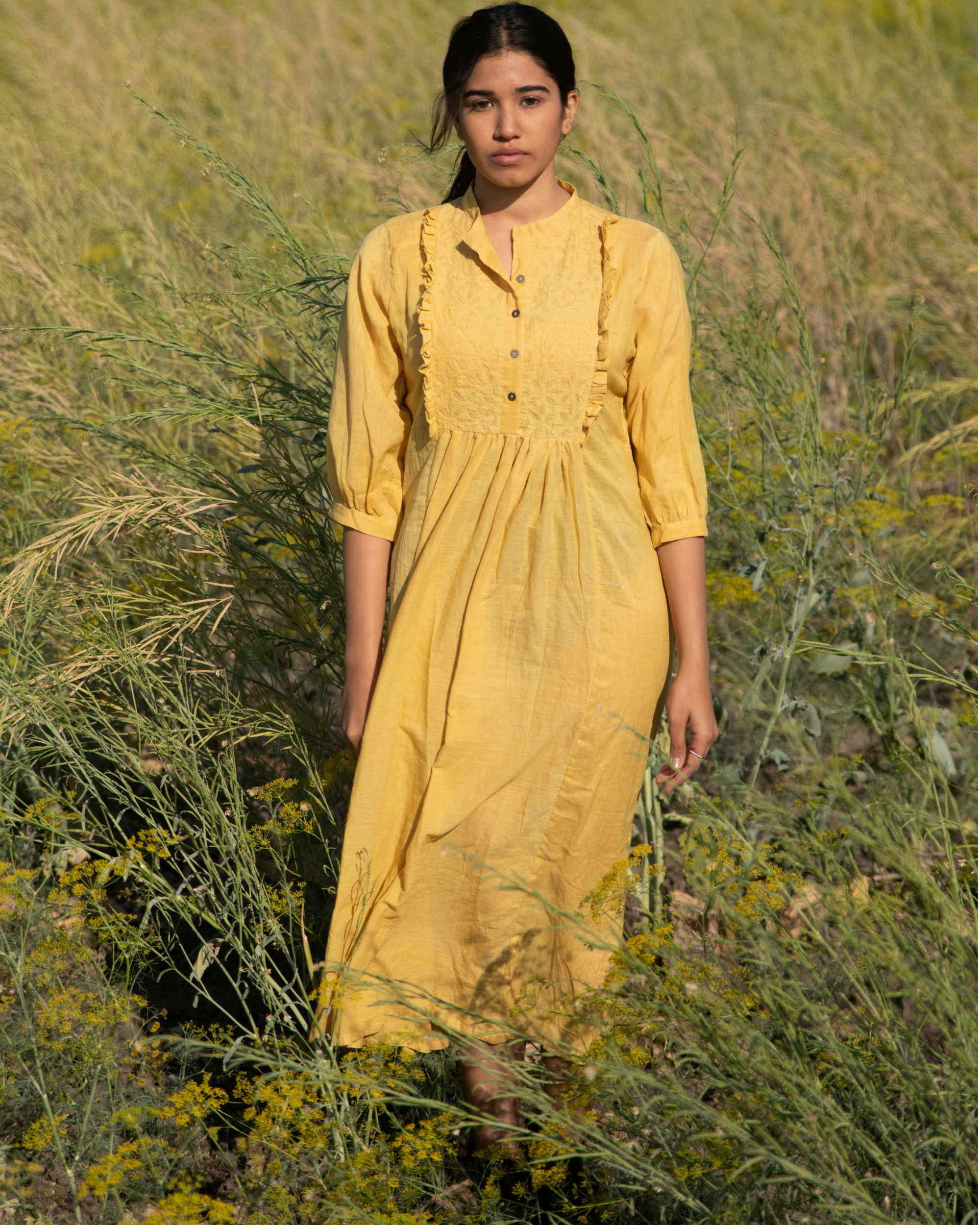Mulmul mustard frill yoke tunic