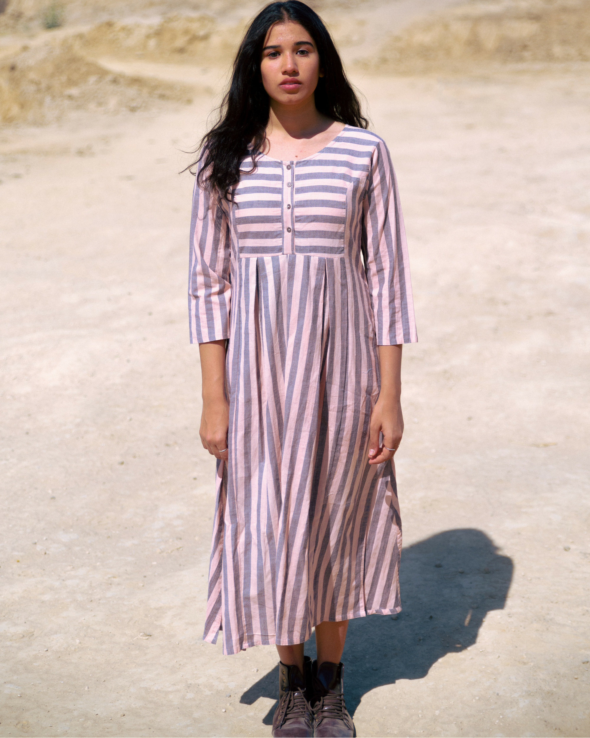 Pink and grey stripe kurta