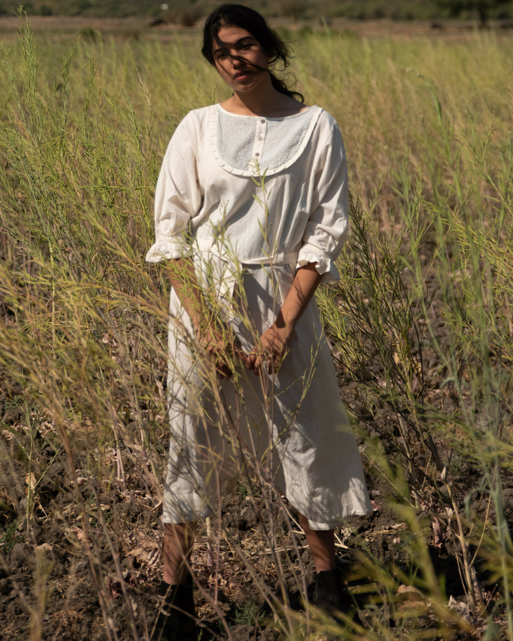 Cotton white tunic with belt