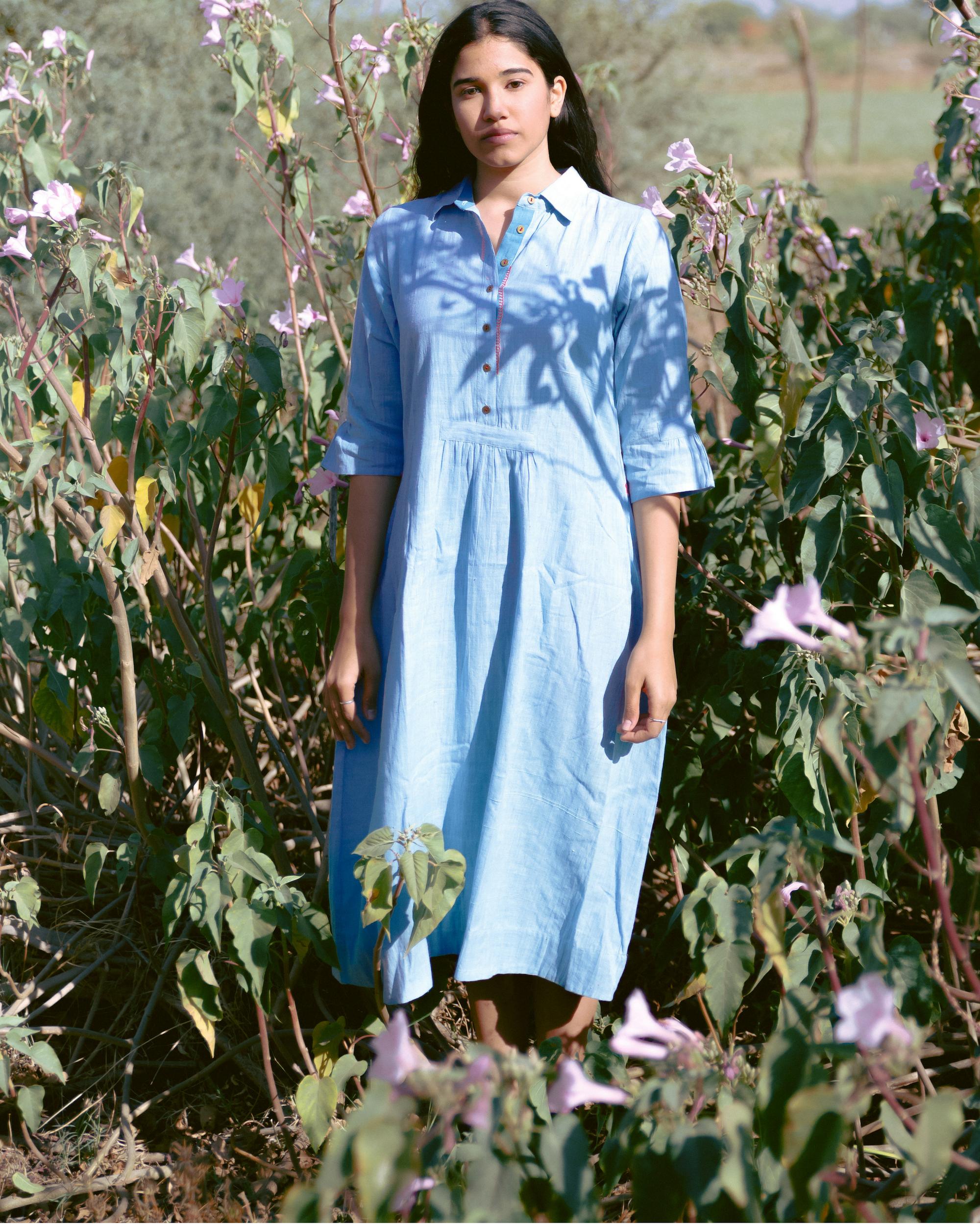 Ice blue cotton shirt dress