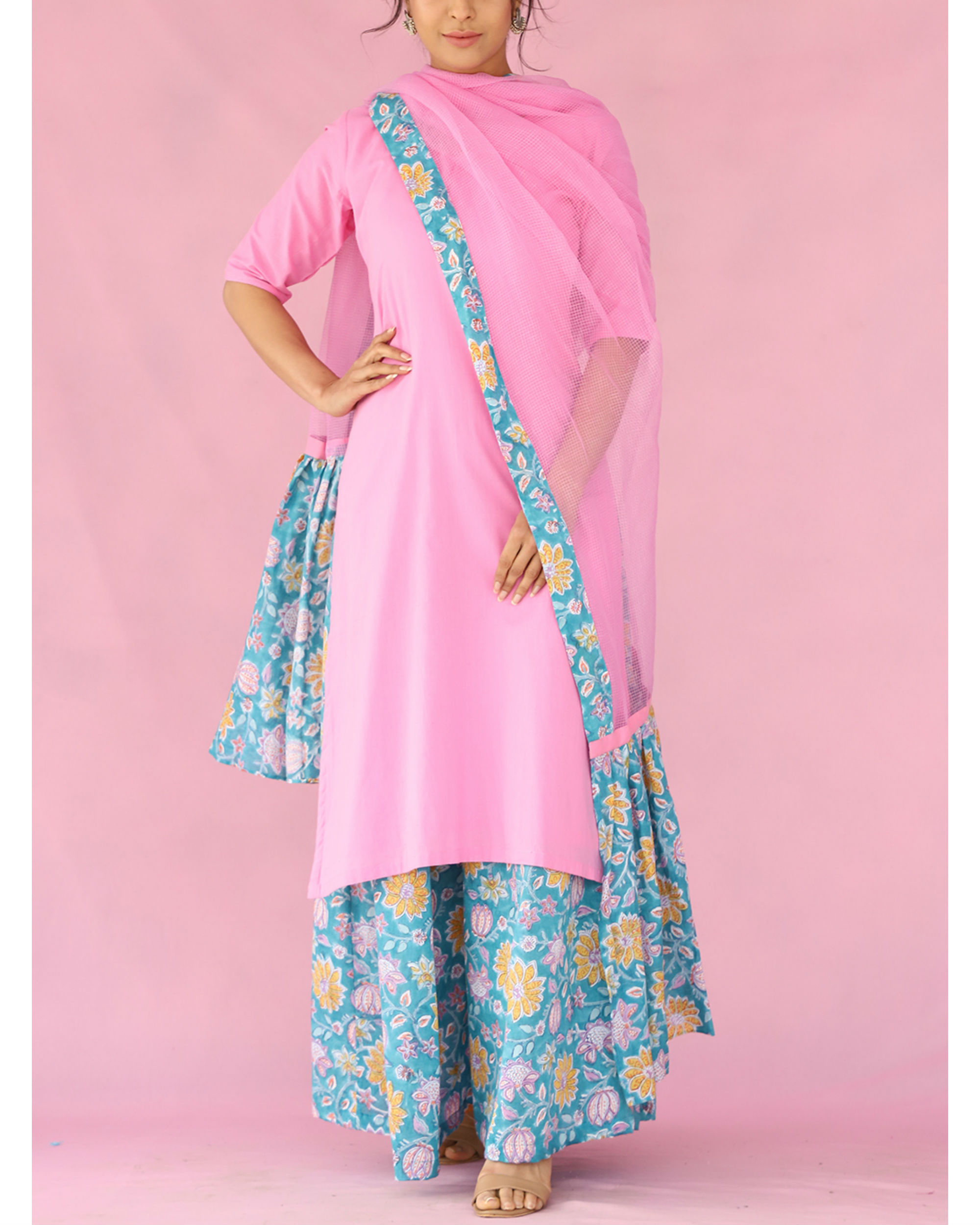 Pink and blue kalidar palazzo set