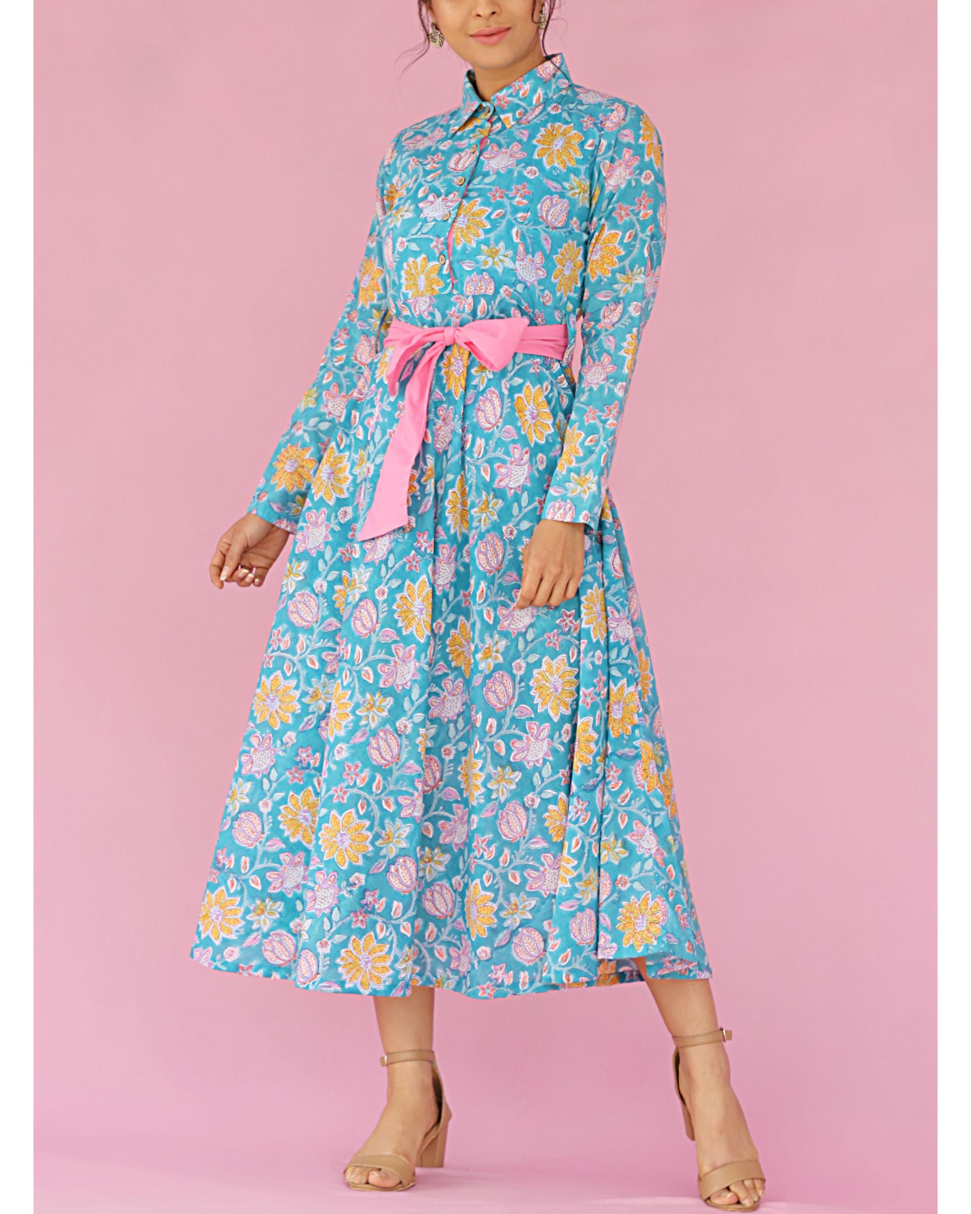 Blue printed front tieup dress