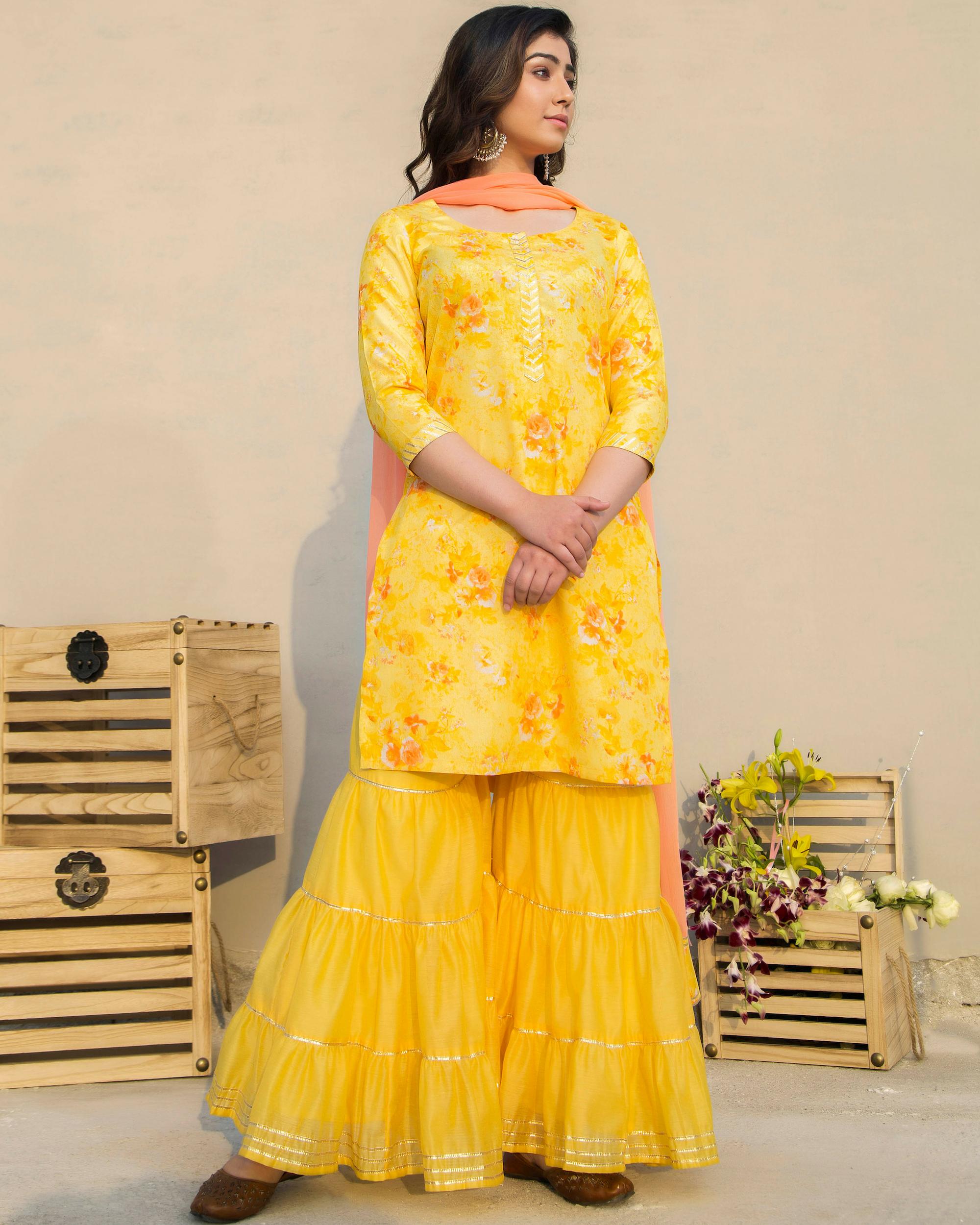 Marigold sharara set with dupatta