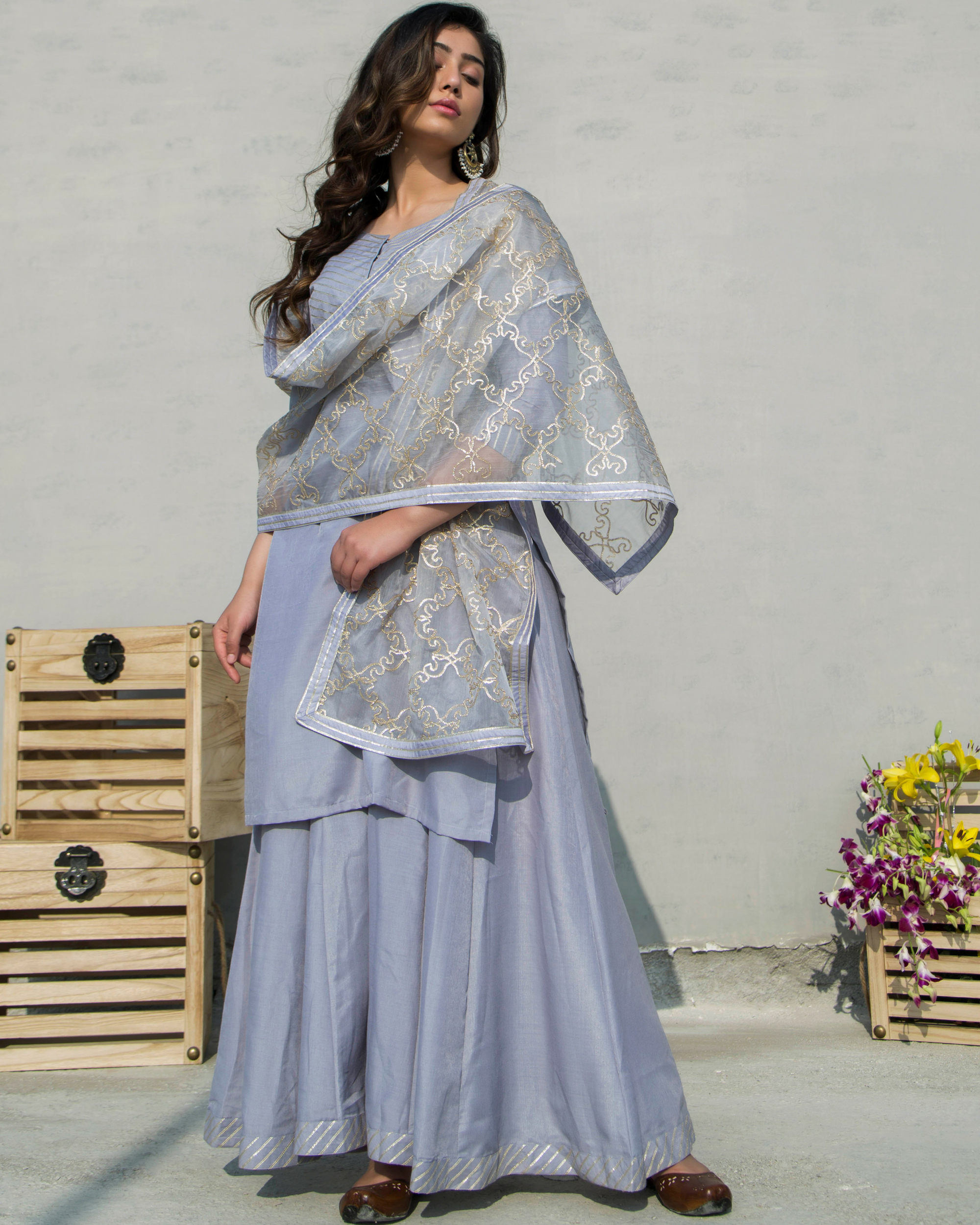 Grey charkhi set with dupatta